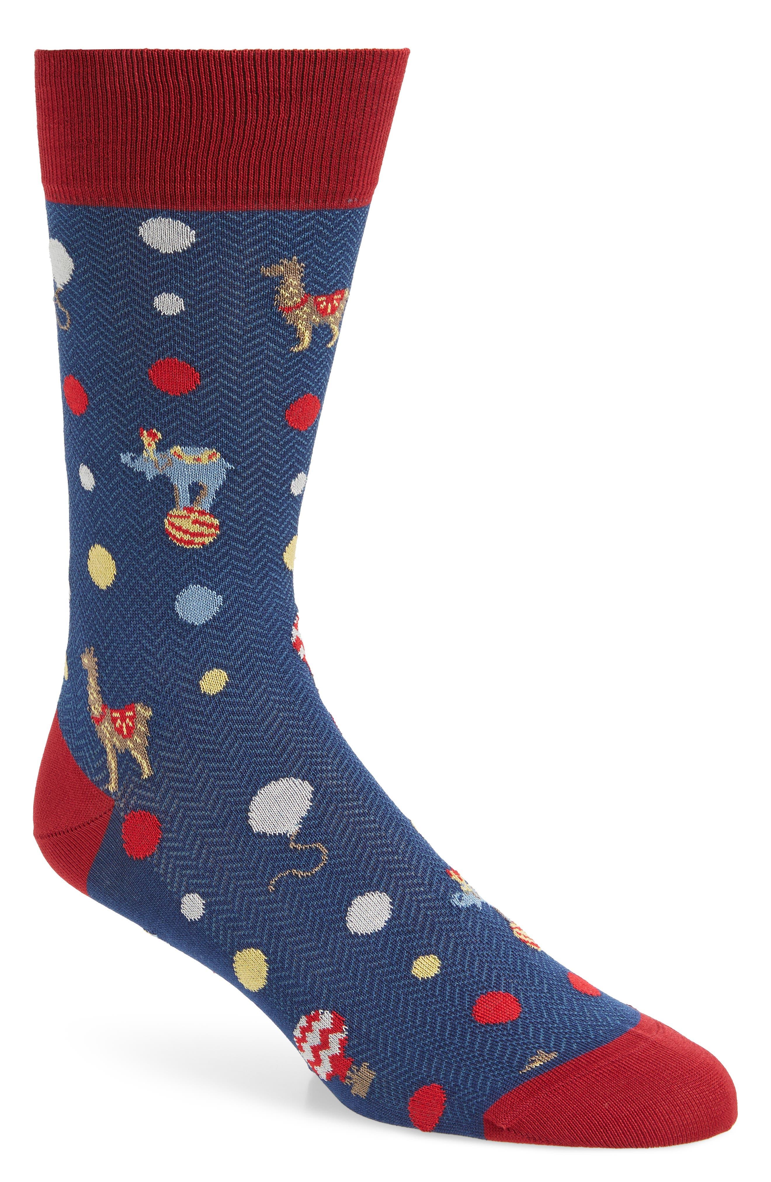 BUGATCHI Jacquard Mercerized Socks, Main, color, NAVY