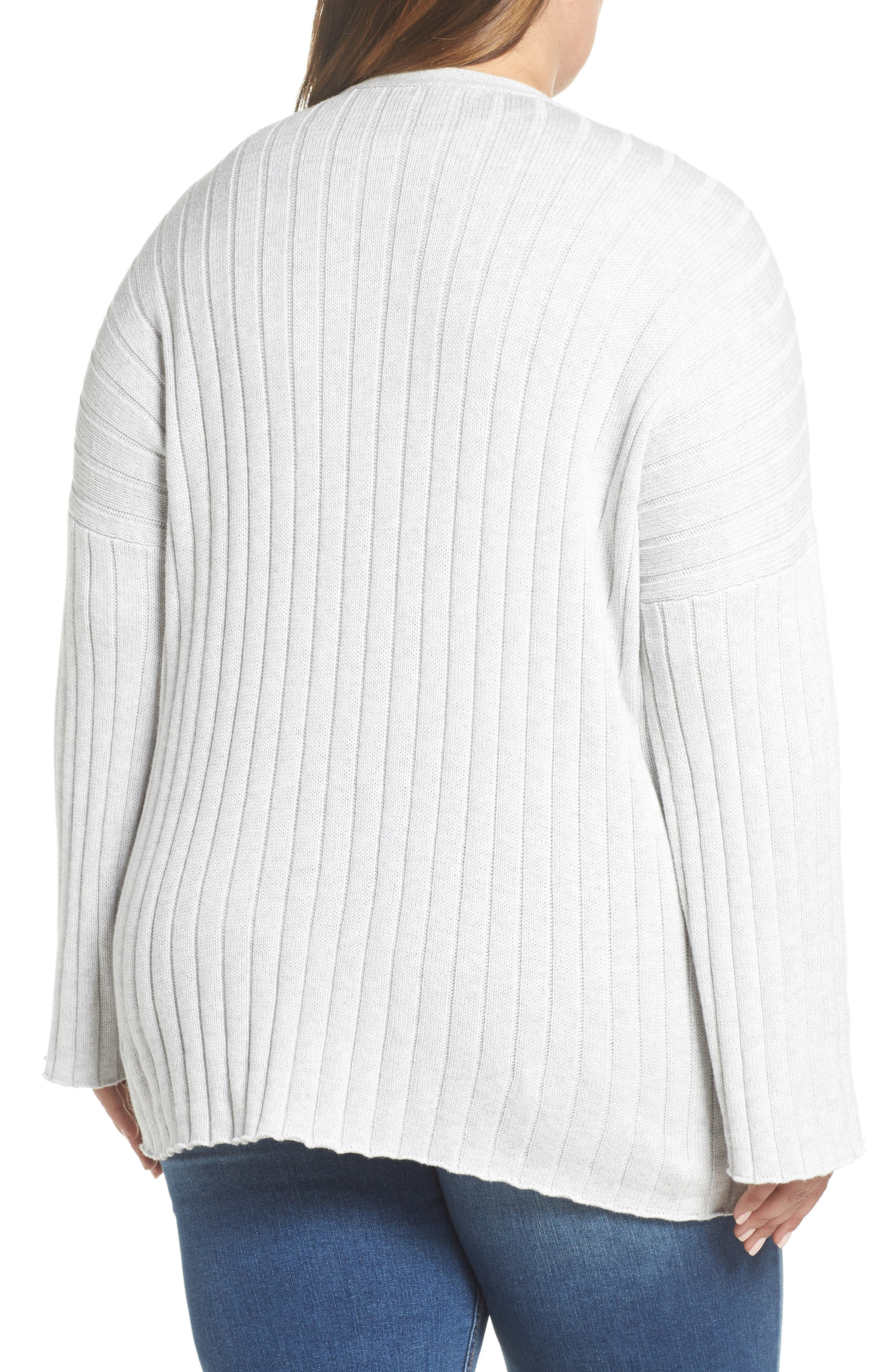 BP., Ribbed Throw On Cardigan, Alternate thumbnail 8, color, GREY QUIET HEATHER
