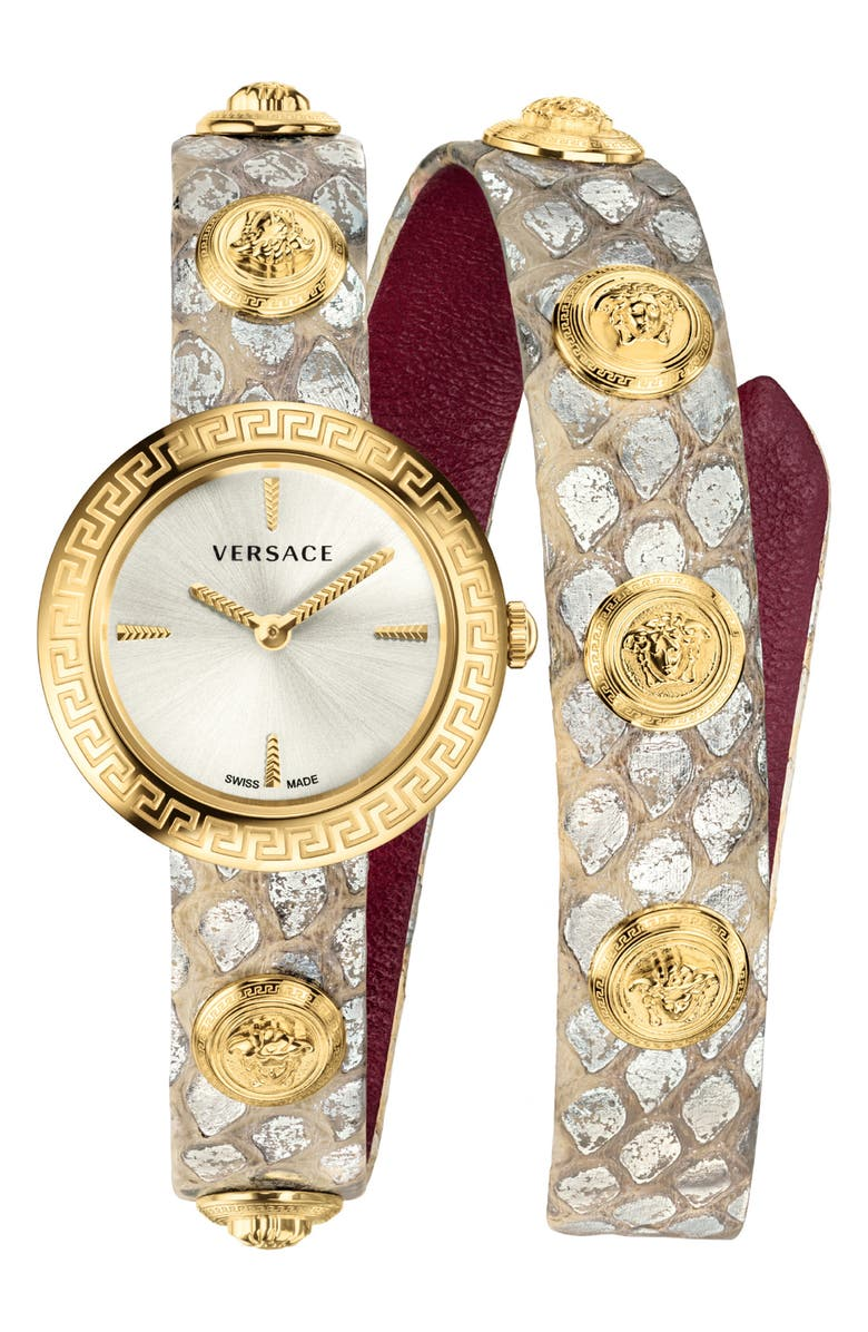 8228c87e72c Versace Medusa Stud Icon Leather Strap Watch
