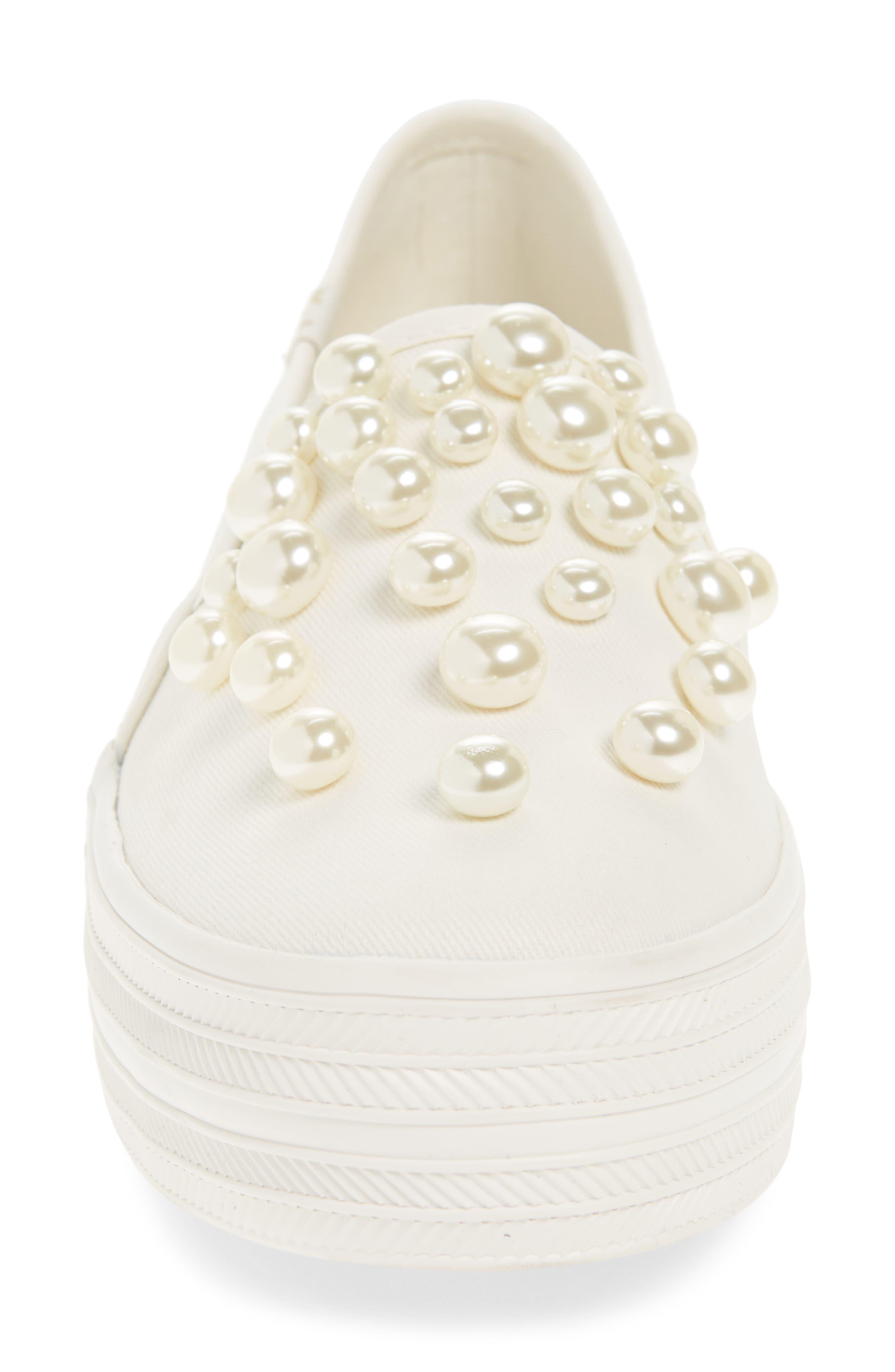KEDS<SUP>®</SUP> FOR KATE SPADE NEW YORK, triple decker embellished slip-on sneaker, Alternate thumbnail 4, color, CREAM