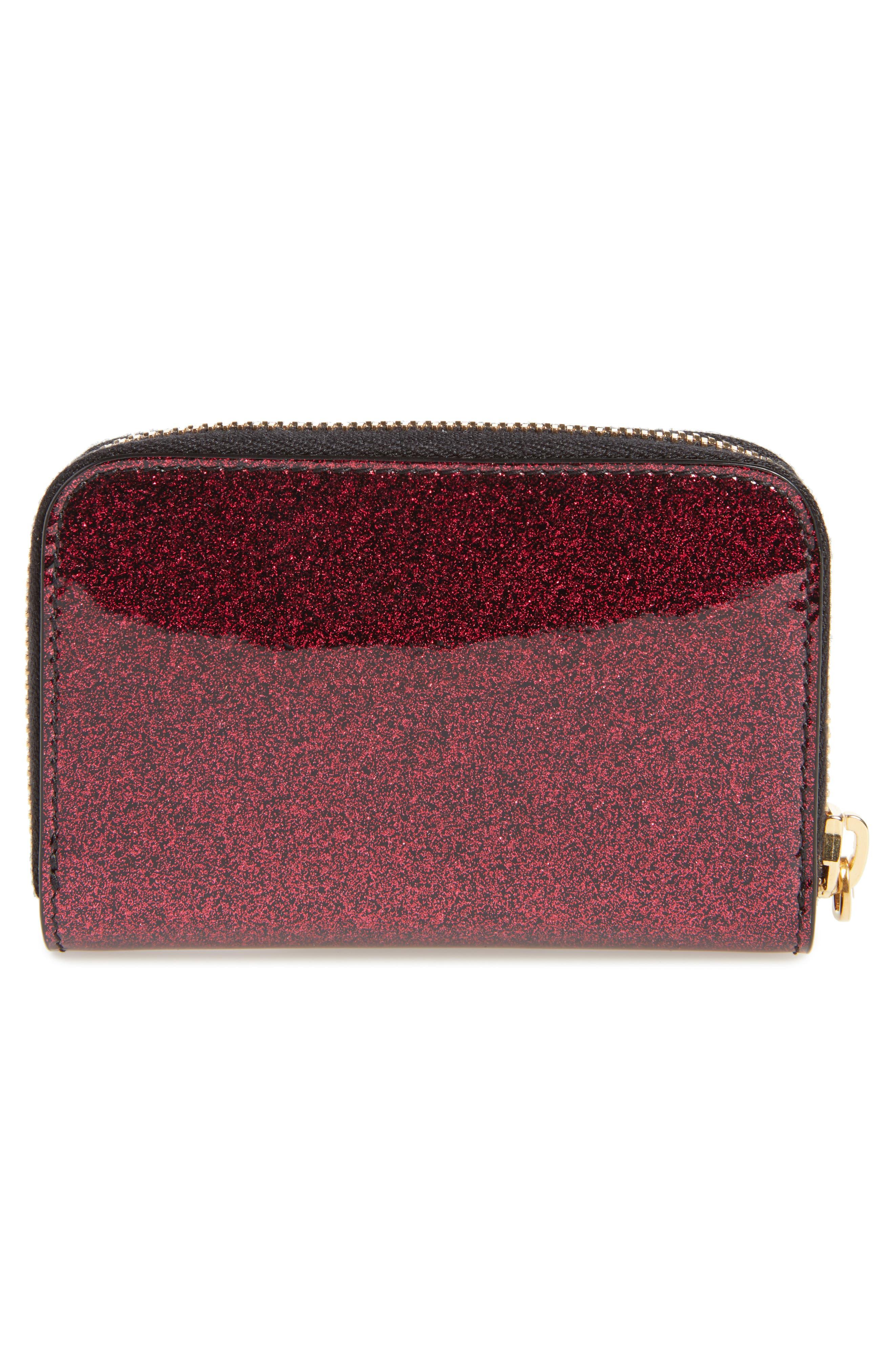 SAINT LAURENT, Glitter Calfskin Leather Wallet, Alternate thumbnail 4, color, SHOCKING PINK/ NOIR