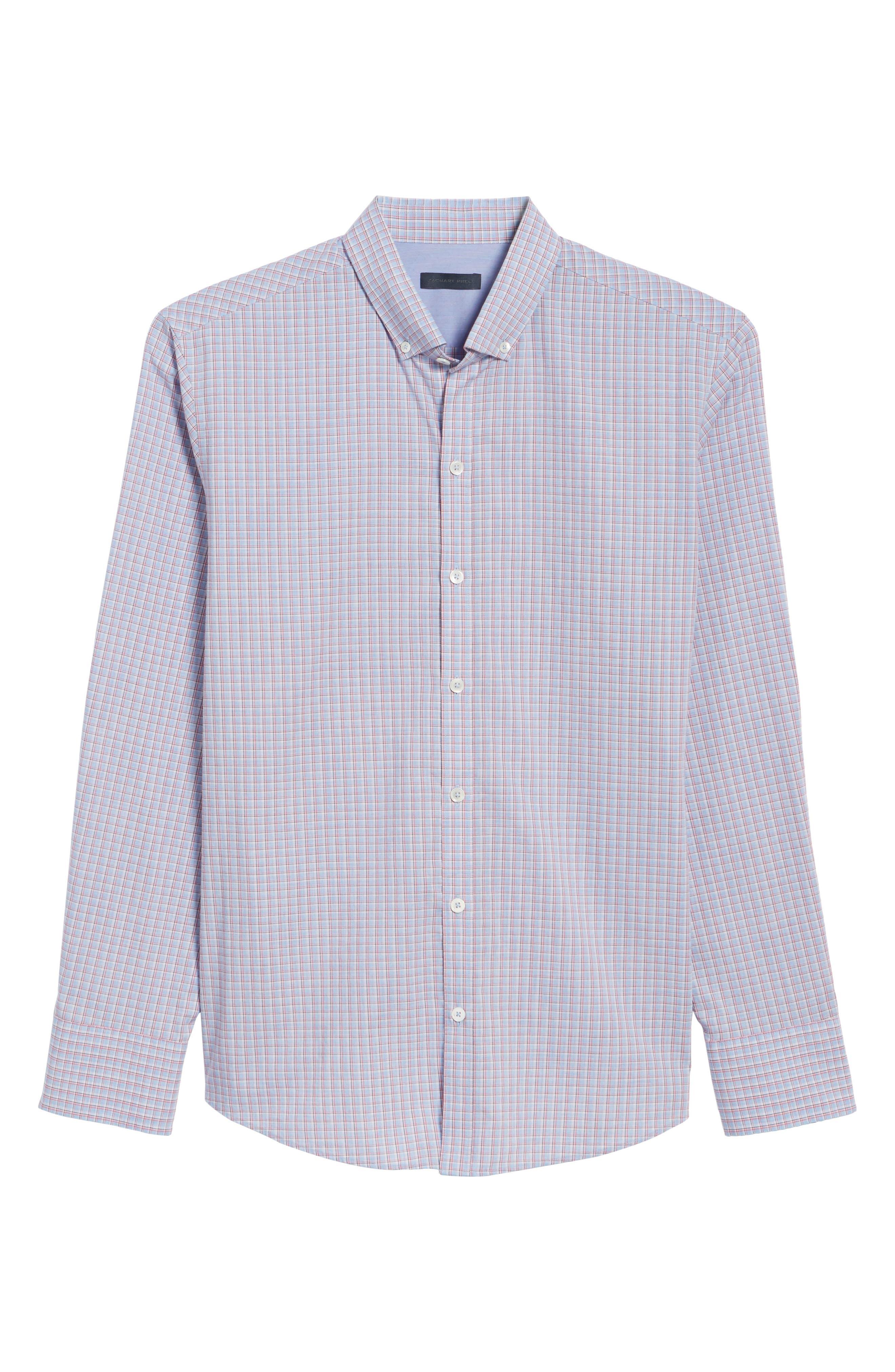 ZACHARY PRELL, Drozdov Regular Fit Plaid Sport Shirt, Alternate thumbnail 6, color, PINK