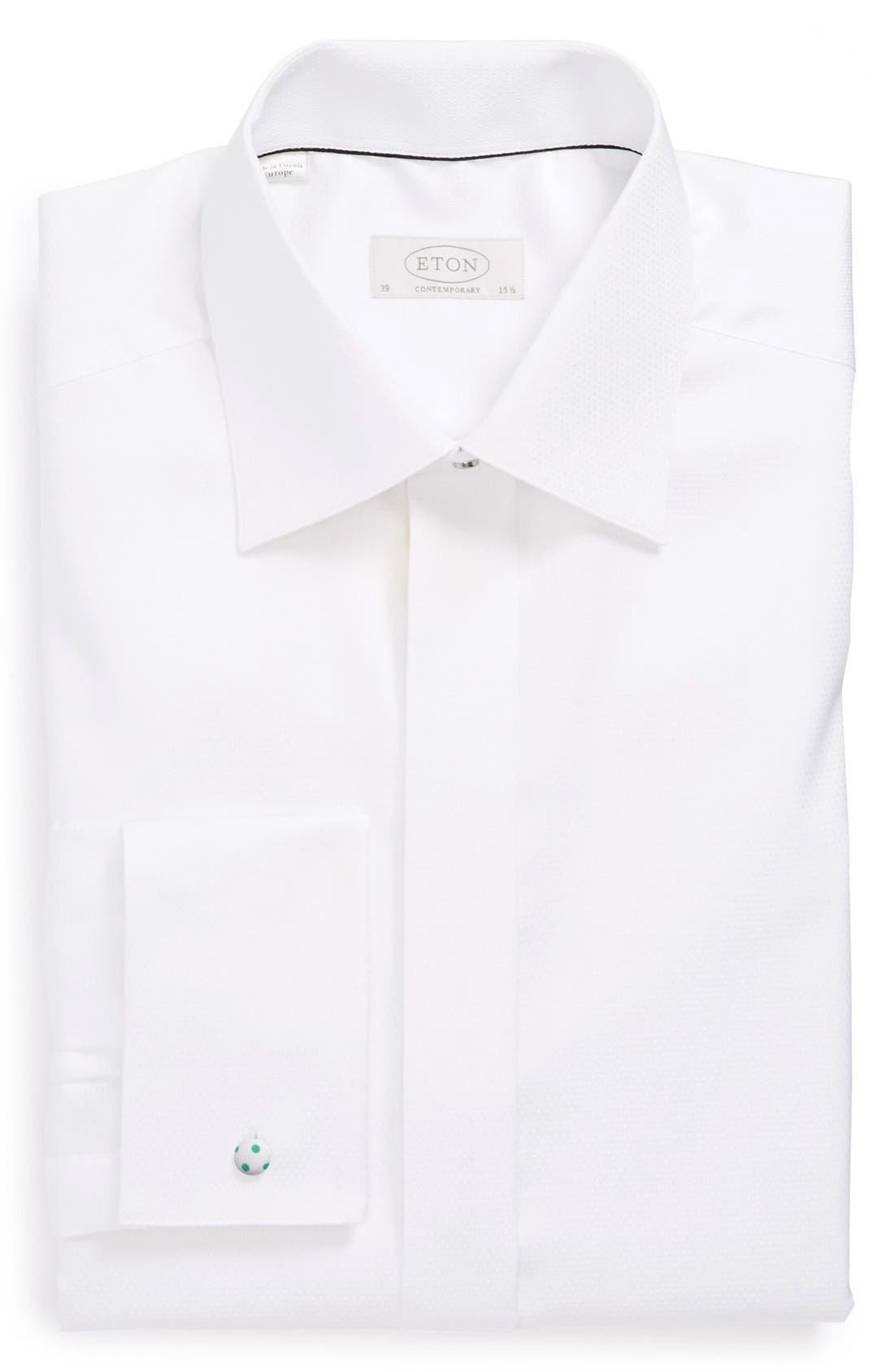 ETON, Contemporary Fit Diamond Weave Tuxedo Shirt, Main thumbnail 1, color, WHITE