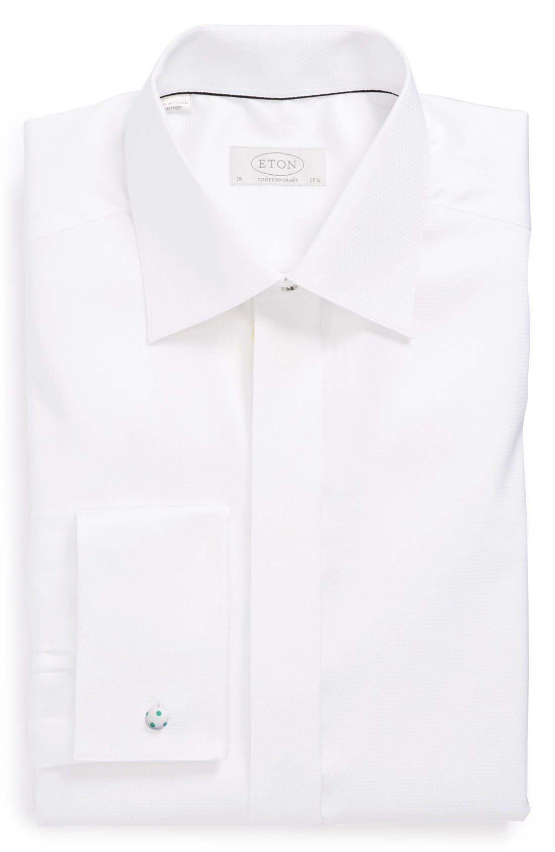 ETON Contemporary Fit Diamond Weave Tuxedo Shirt, Main, color, WHITE