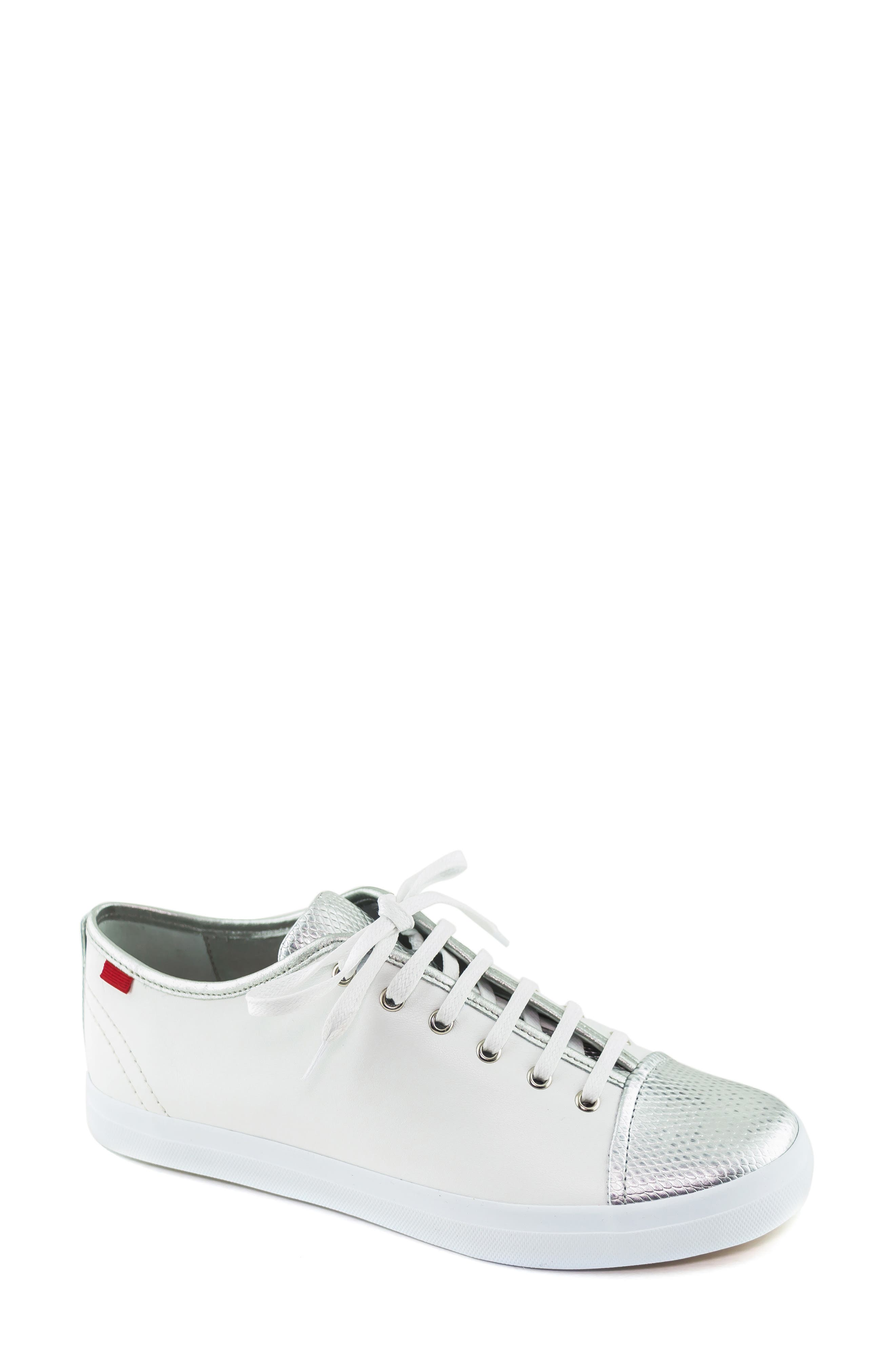 MARC JOSEPH NEW YORK, Bleecker Street Sneaker, Main thumbnail 1, color, WHITE/ GIPSY SILVER LEATHER