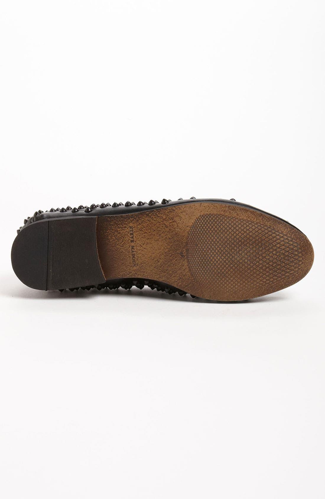 STEVE MADDEN, 'Jagggrr' Studded Loafer, Alternate thumbnail 3, color, 012