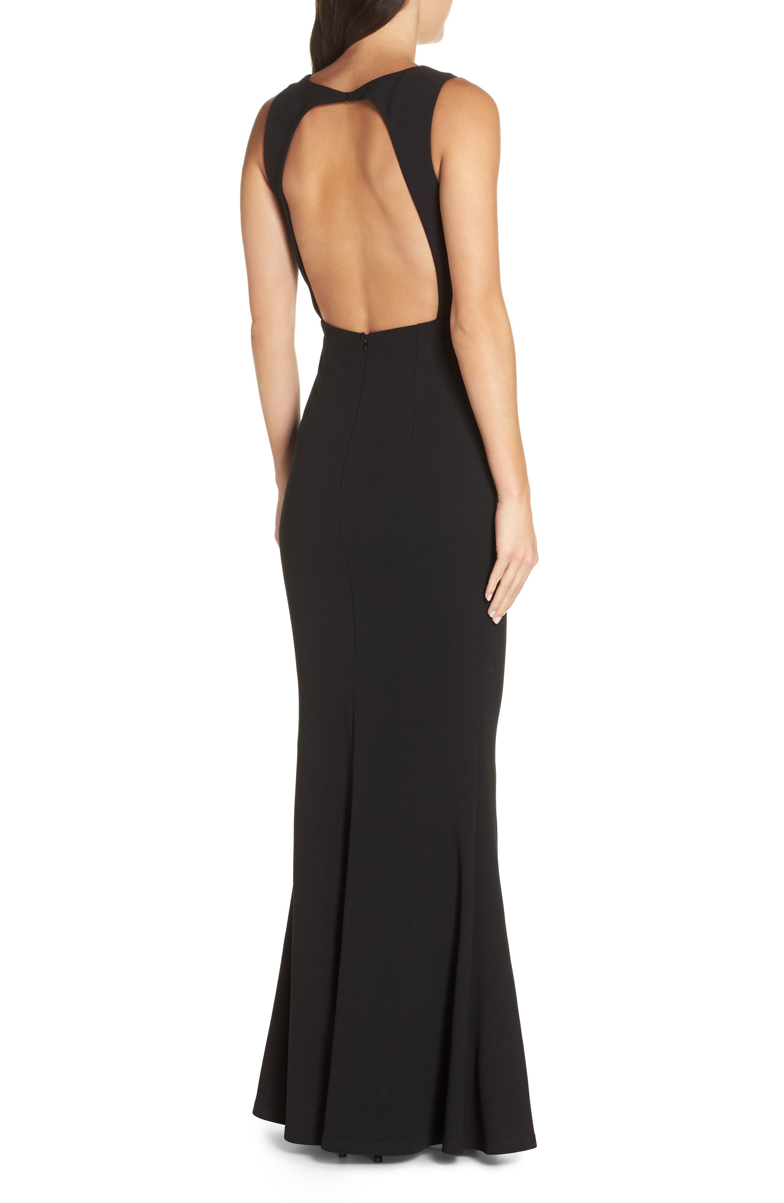 LULUS, Mine Backless Trumpet Gown, Alternate thumbnail 2, color, BLACK