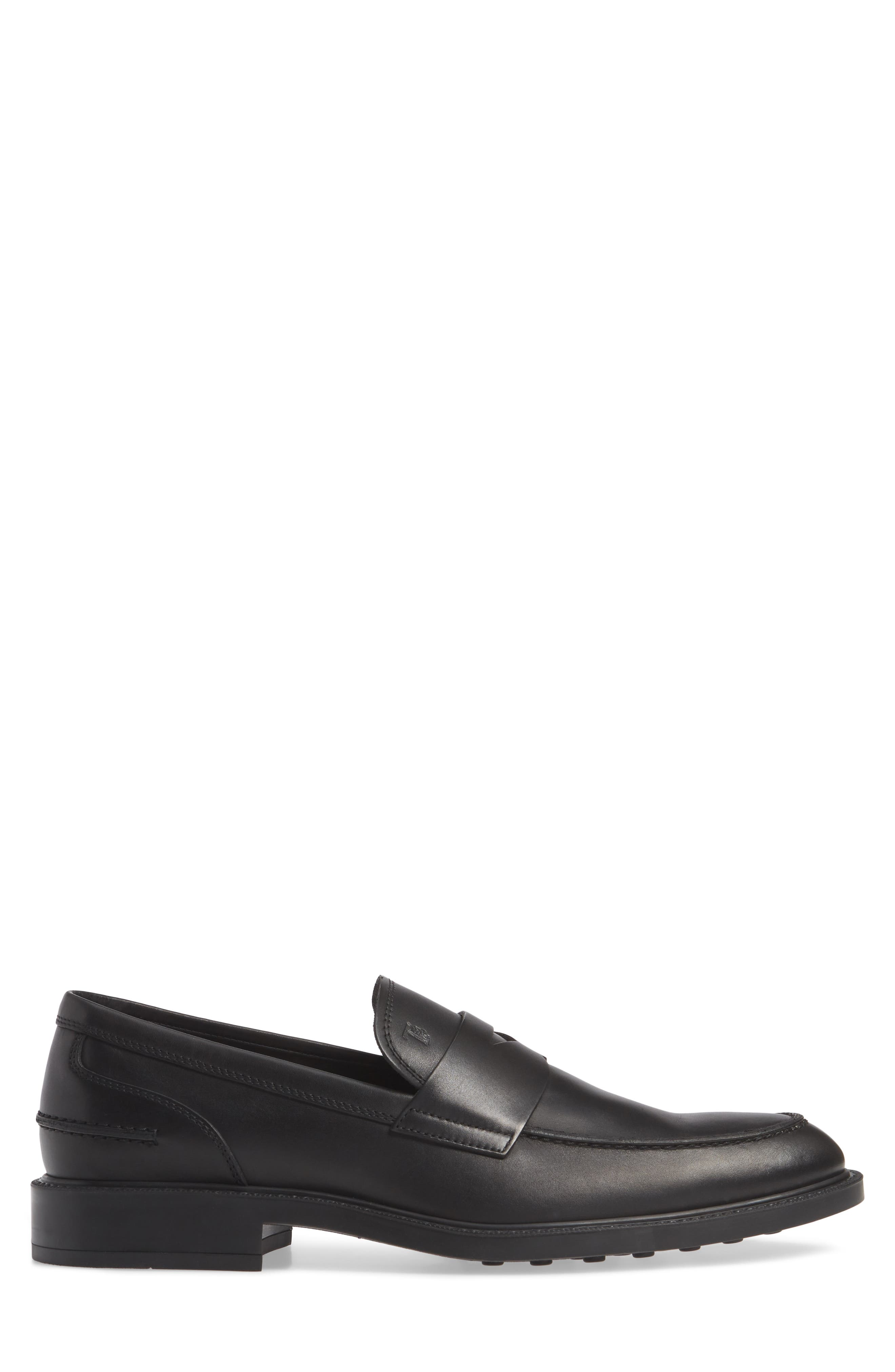 TOD'S, Mocassino Water Repellent Penny Loafer, Alternate thumbnail 3, color, BLACK/ BLACK
