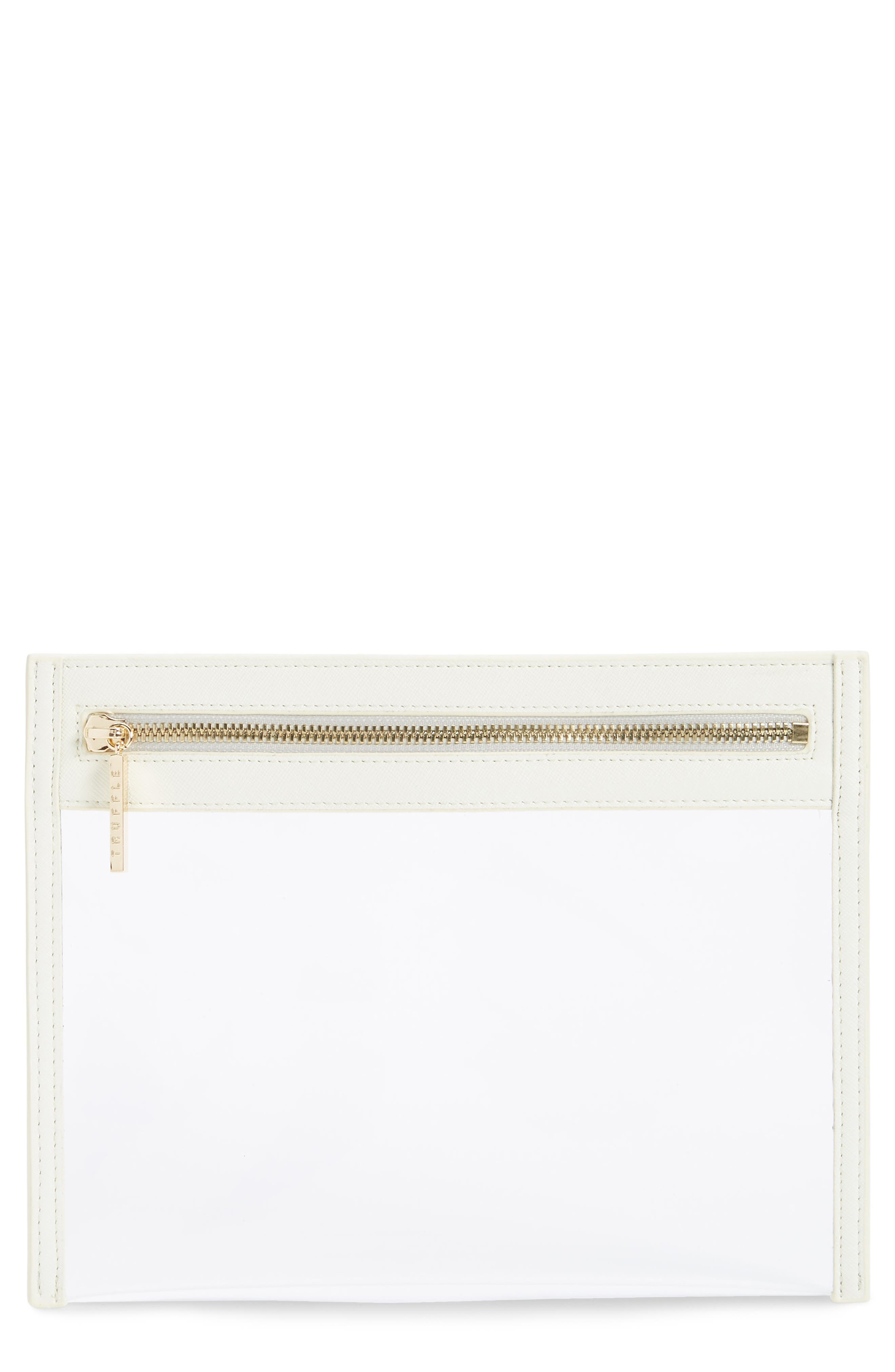 TRUFFLE, Small Clarity Clutch, Main thumbnail 1, color, WHITE