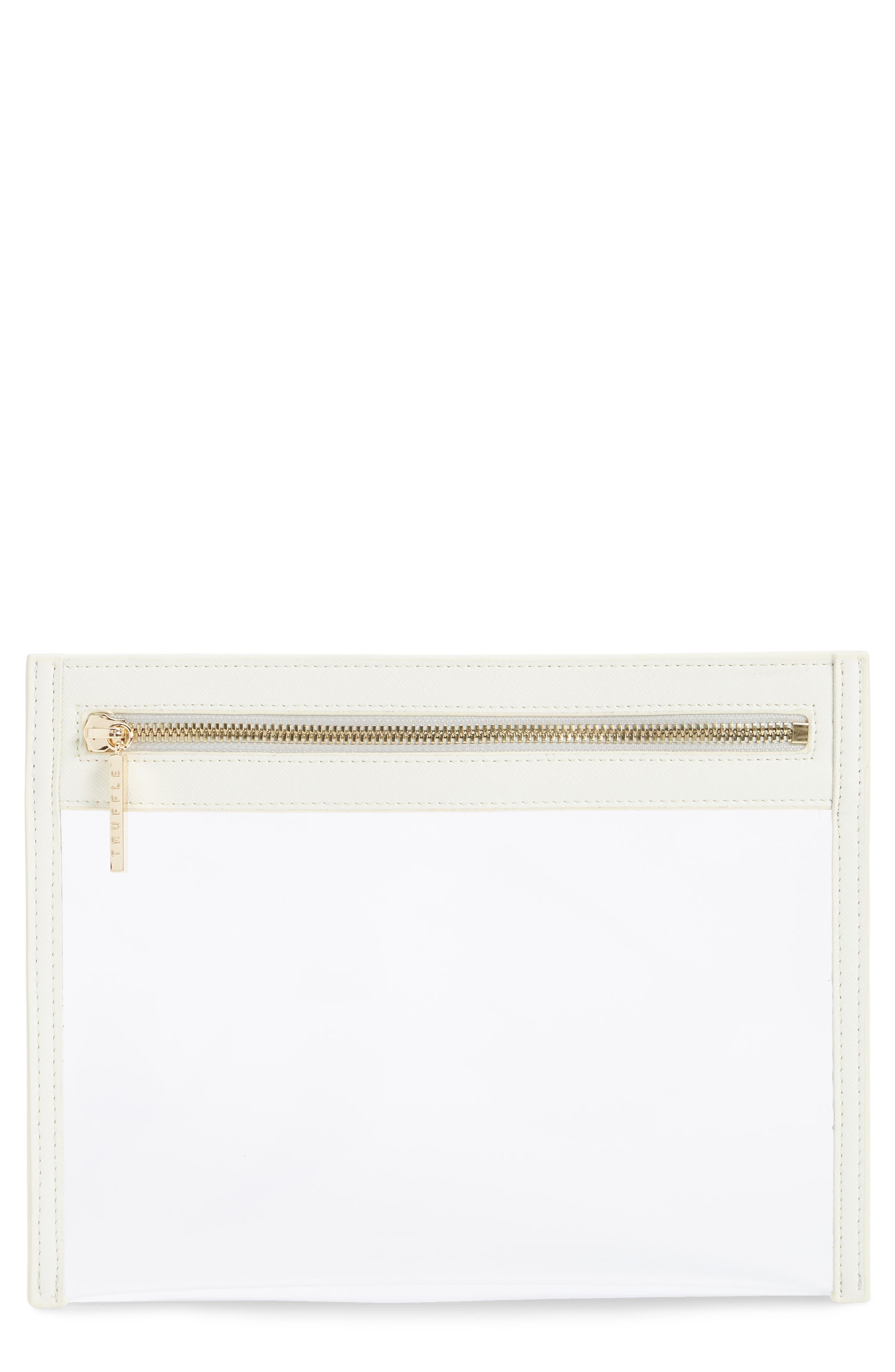 TRUFFLE Small Clarity Clutch, Main, color, WHITE