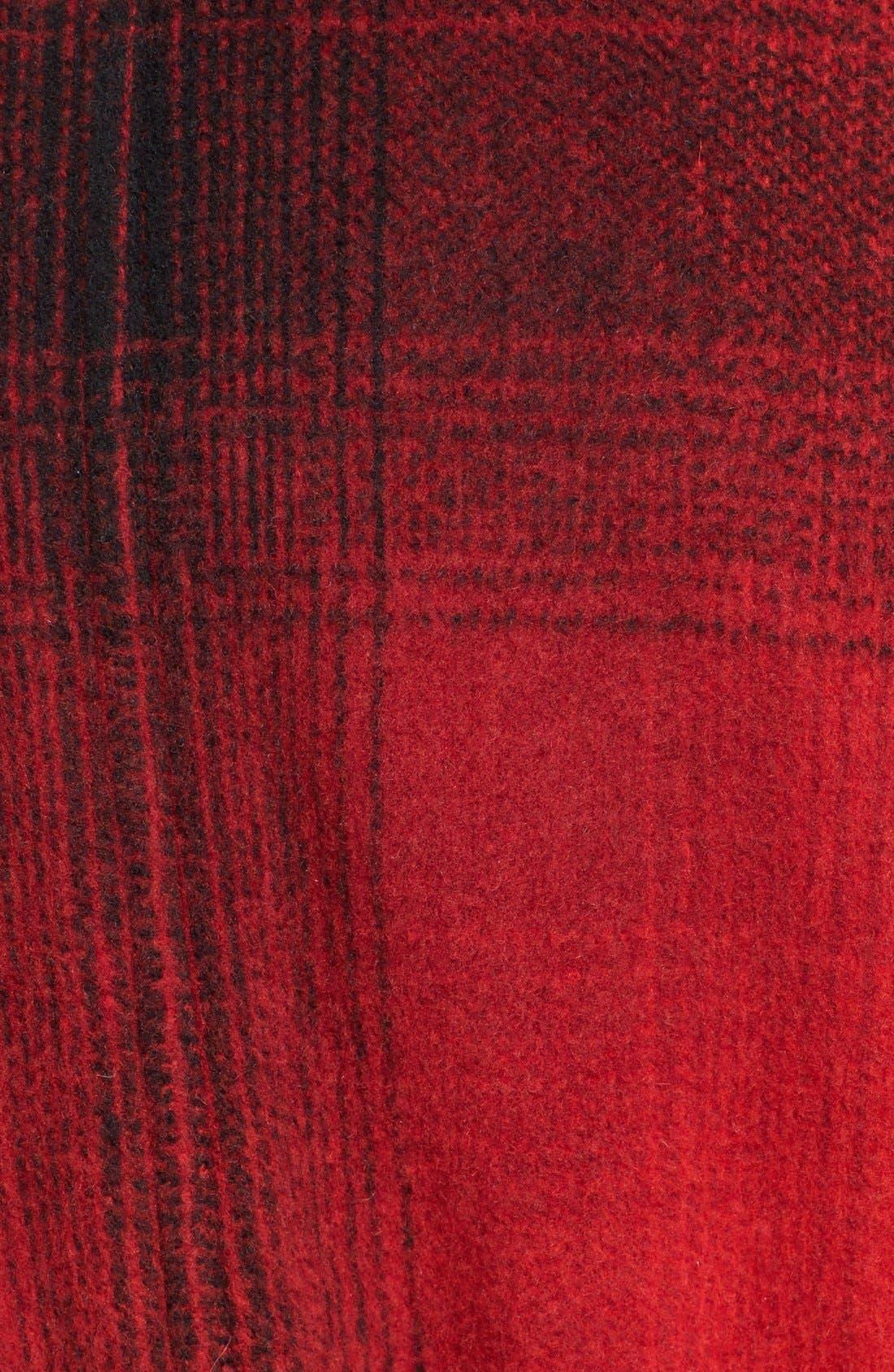 ALEXANDERWANG.T, T by Alexander Wang Fringe Oversized Shawl Collar Coat, Alternate thumbnail 5, color, 001