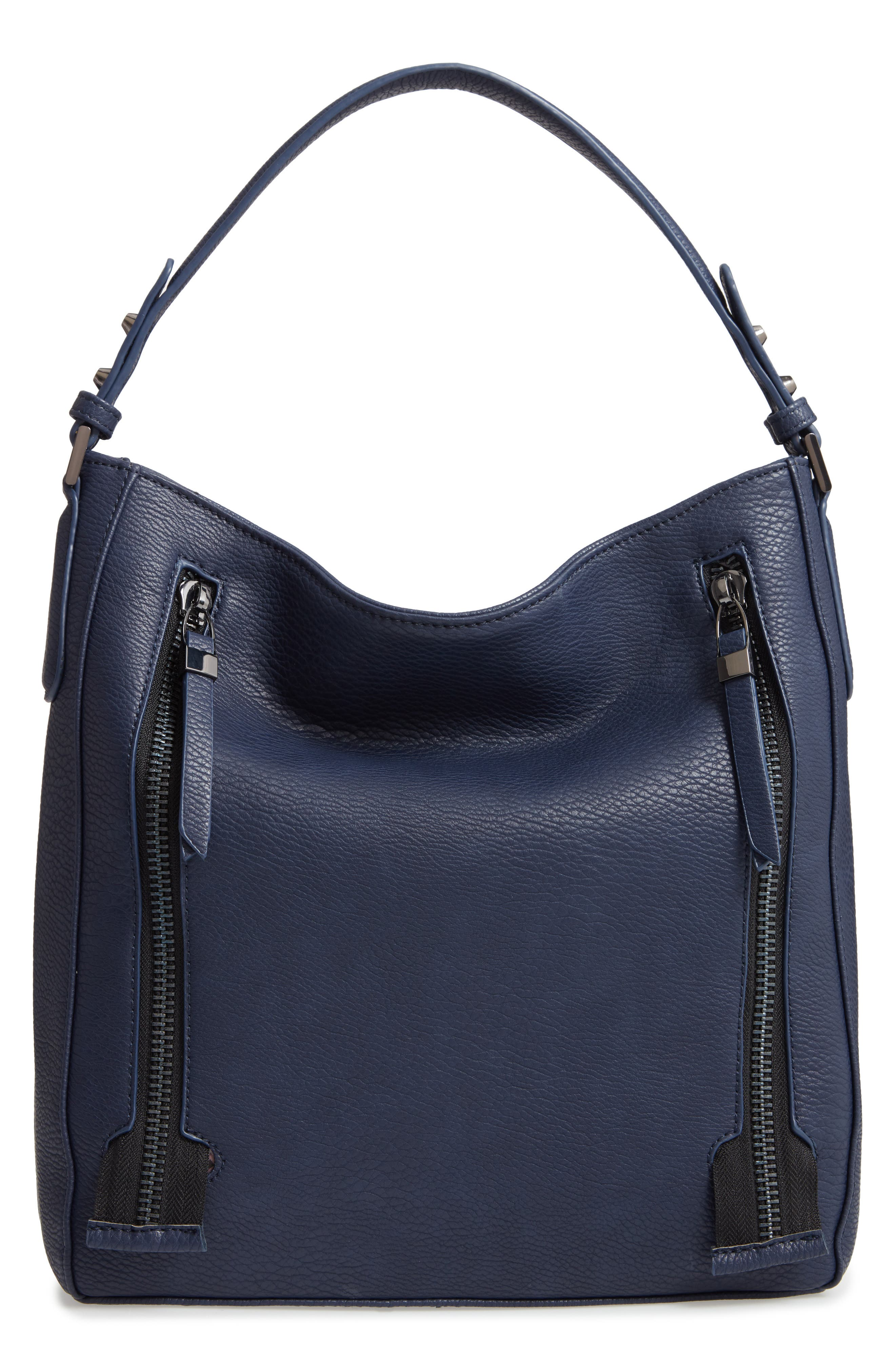SONDRA ROBERTS Faux Leather Hobo, Main, color, NAVY