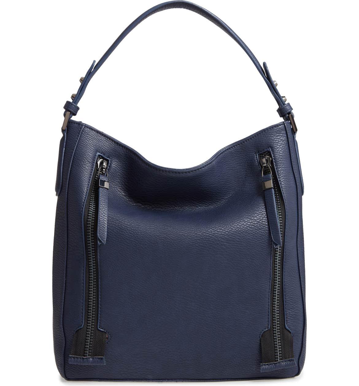 SONDRA ROBERTS Faux Leather Hobo, Main, color, NAVY