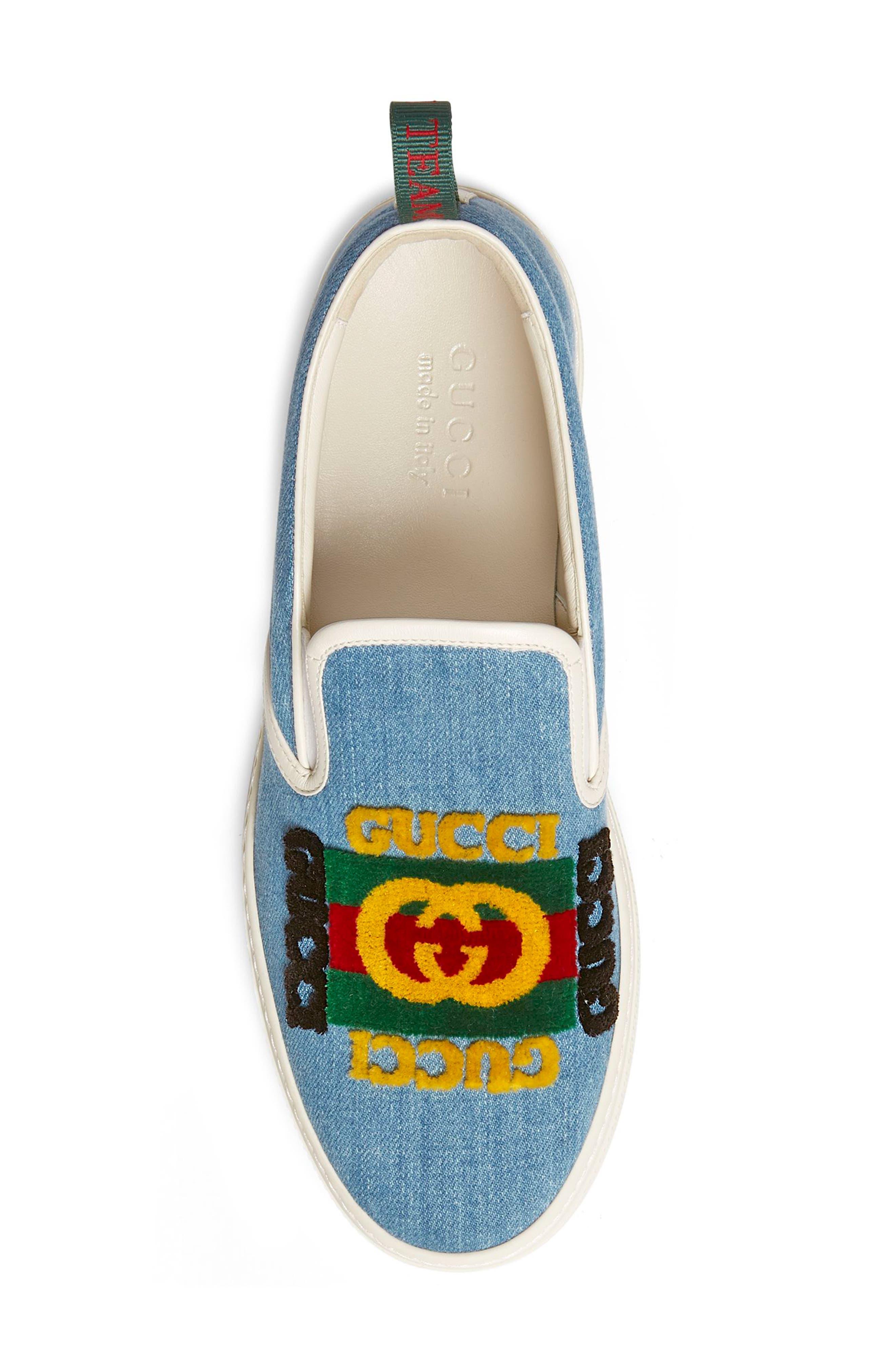 GUCCI, Dublin Slip-On Sneaker, Alternate thumbnail 3, color, BLUE/ BLACK
