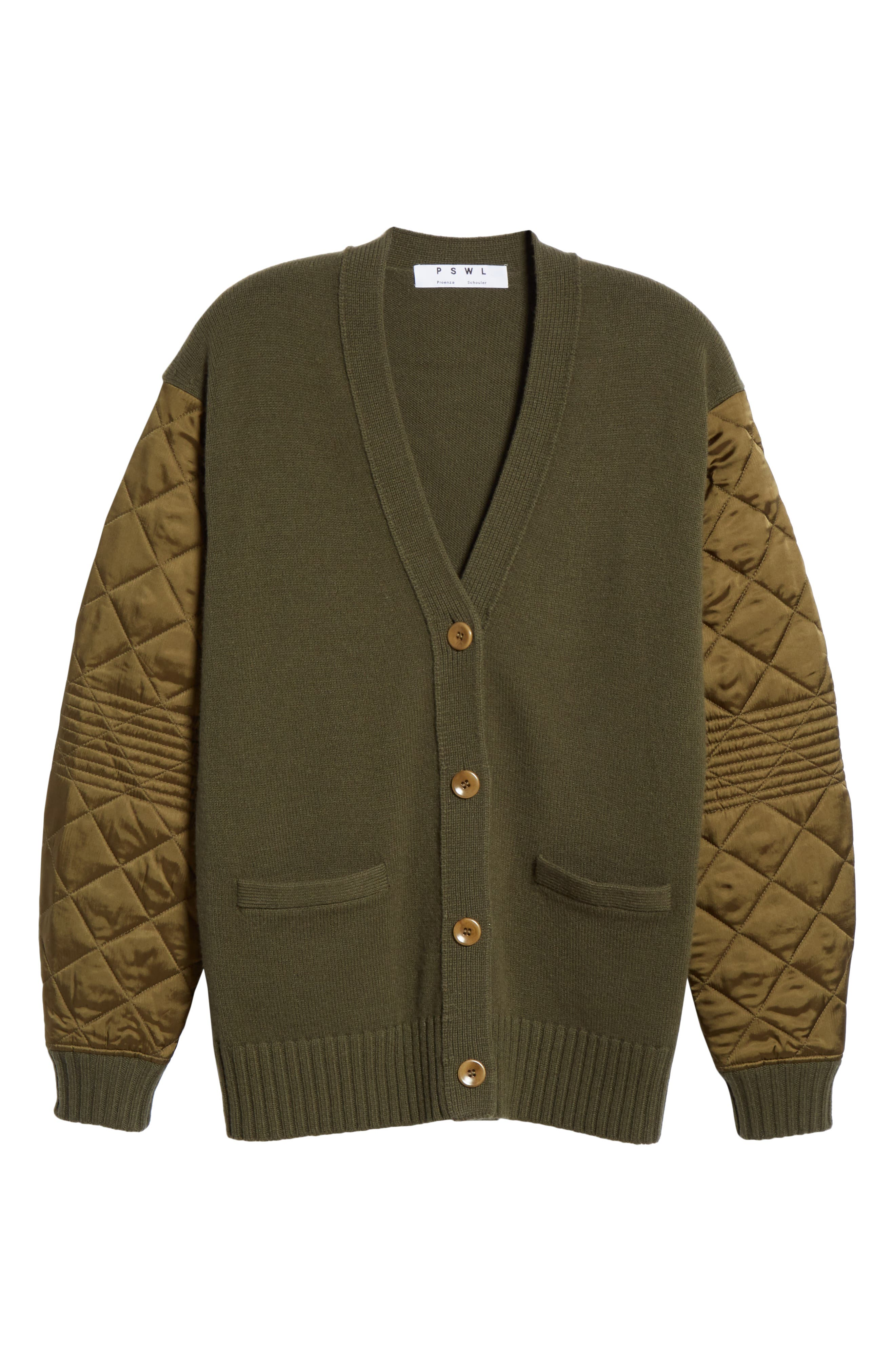 PROENZA SCHOULER, PSWL Quilted Sleeve Merino Wool Cardigan, Alternate thumbnail 6, color, FOREST