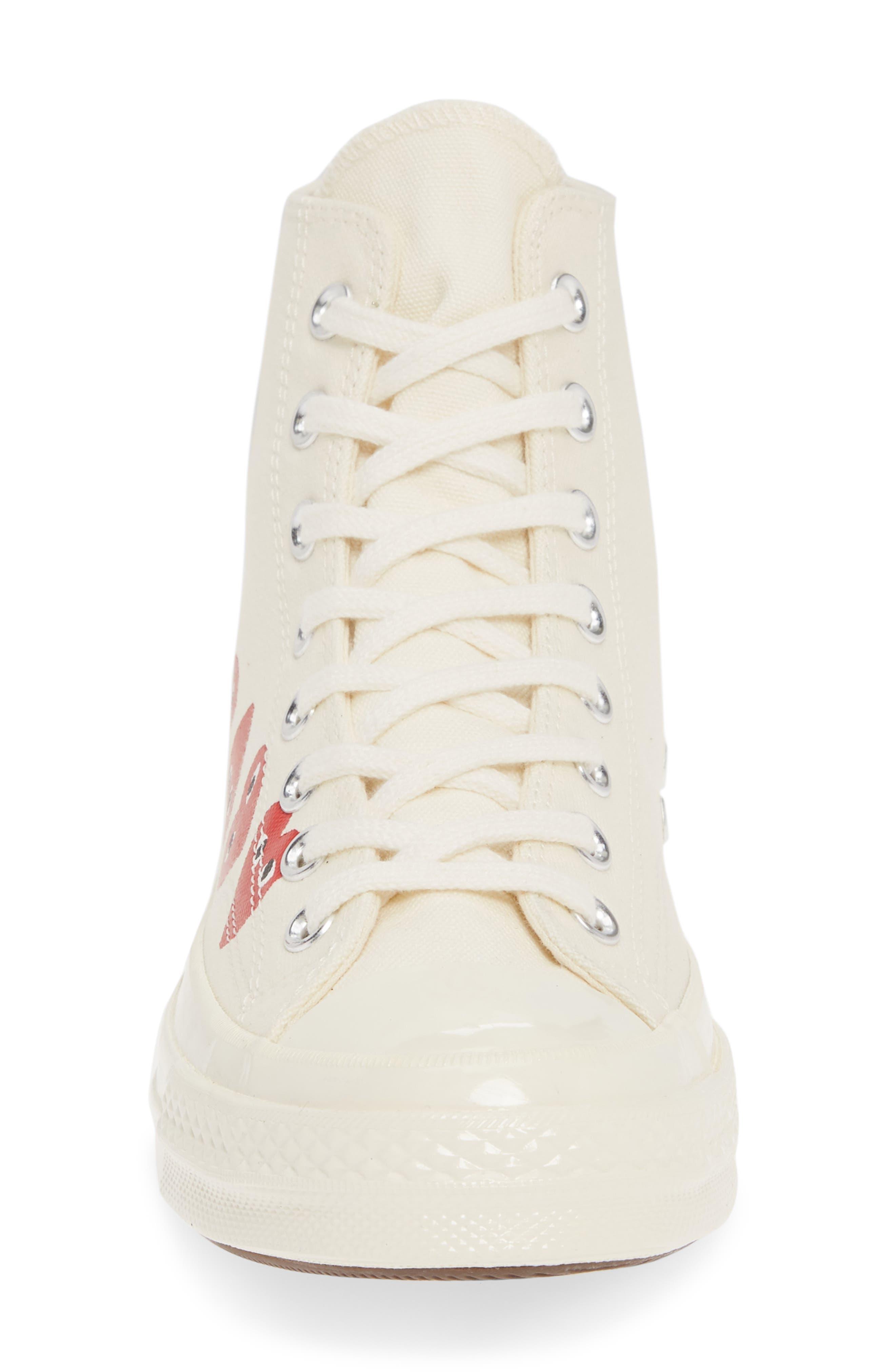 COMME DES GARÇONS PLAY, Multiheart Sneaker, Alternate thumbnail 4, color, OFF WHITE