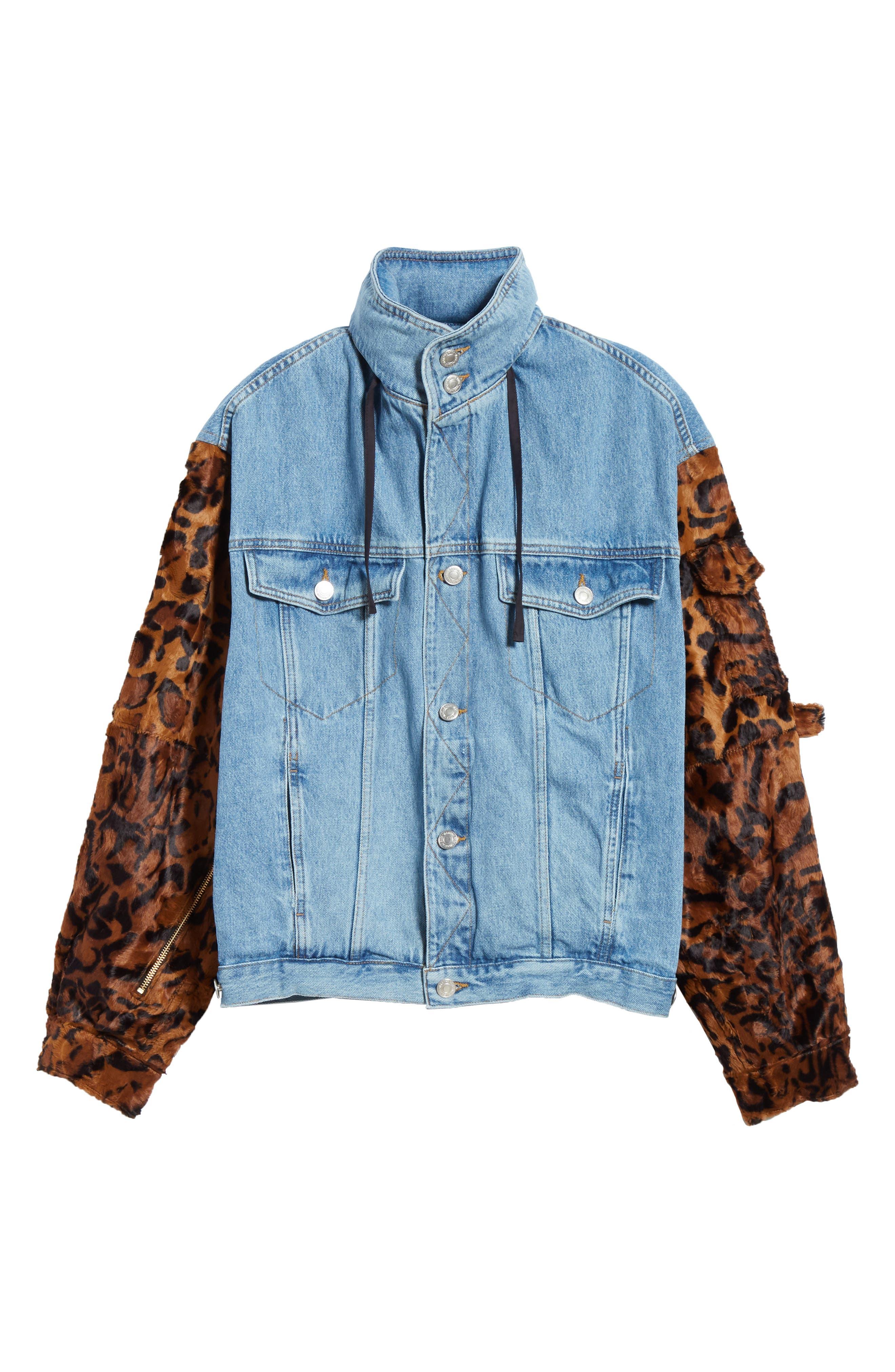 MARTINE ROSE, Leopard Hooded Denim Jacket, Alternate thumbnail 6, color, LIGHT DENIM DARK
