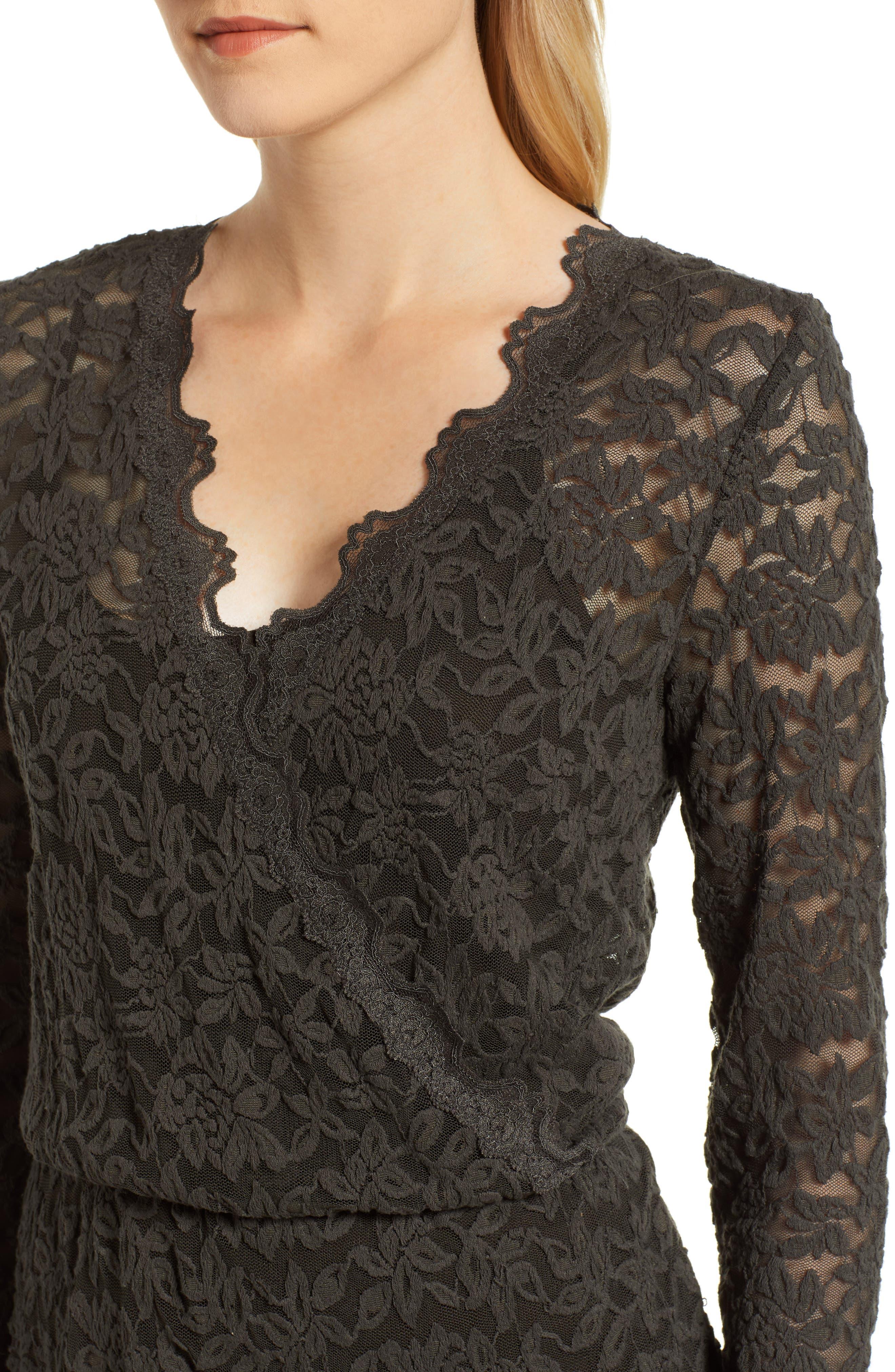 ROSEMUNDE, Delicia Scallop Detail Cotton Blend Lace Dress, Alternate thumbnail 5, color, DARK FOREST
