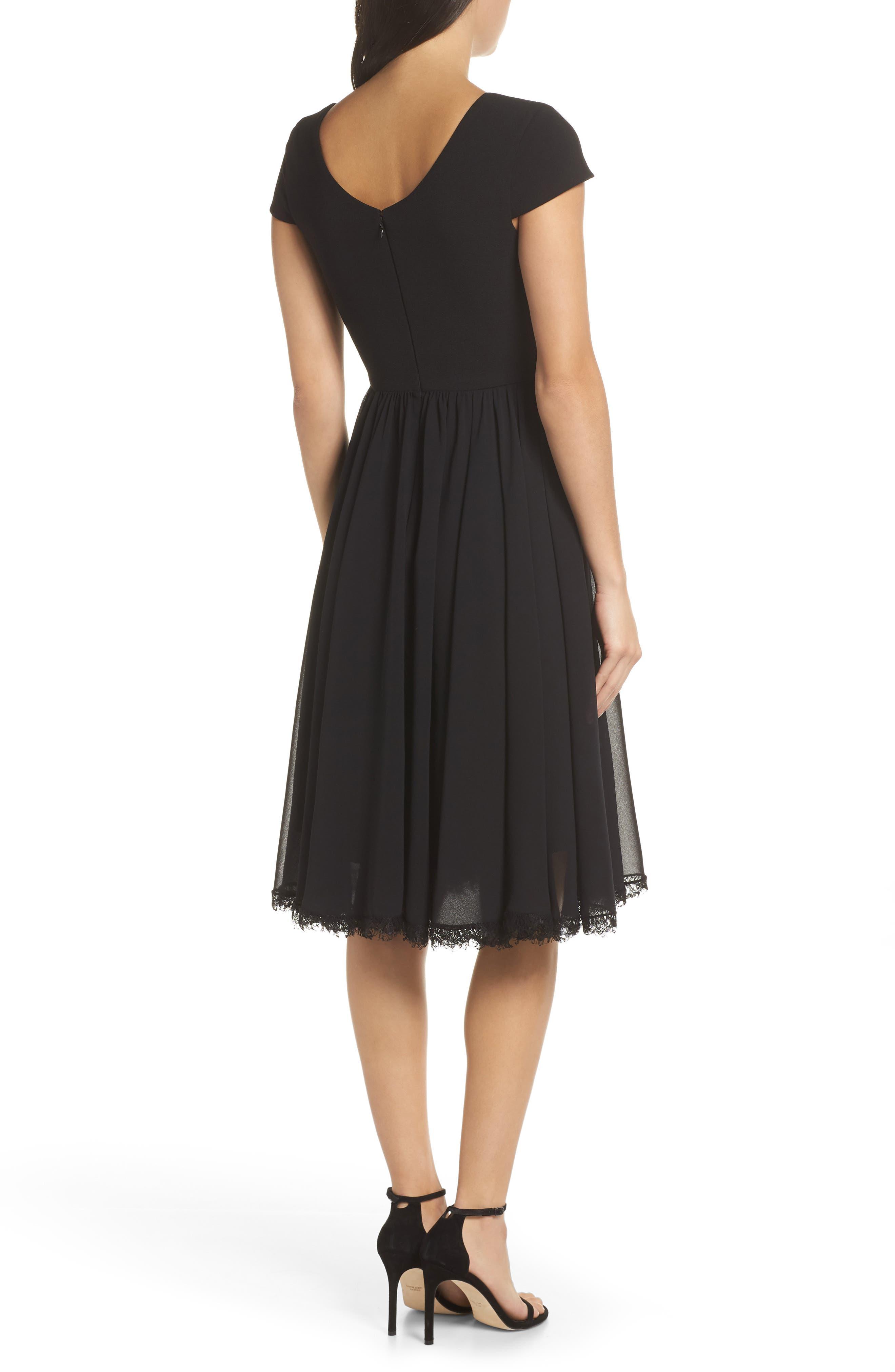 DRESS THE POPULATION, Corey Chiffon Fit & Flare Dress, Alternate thumbnail 2, color, BLACK
