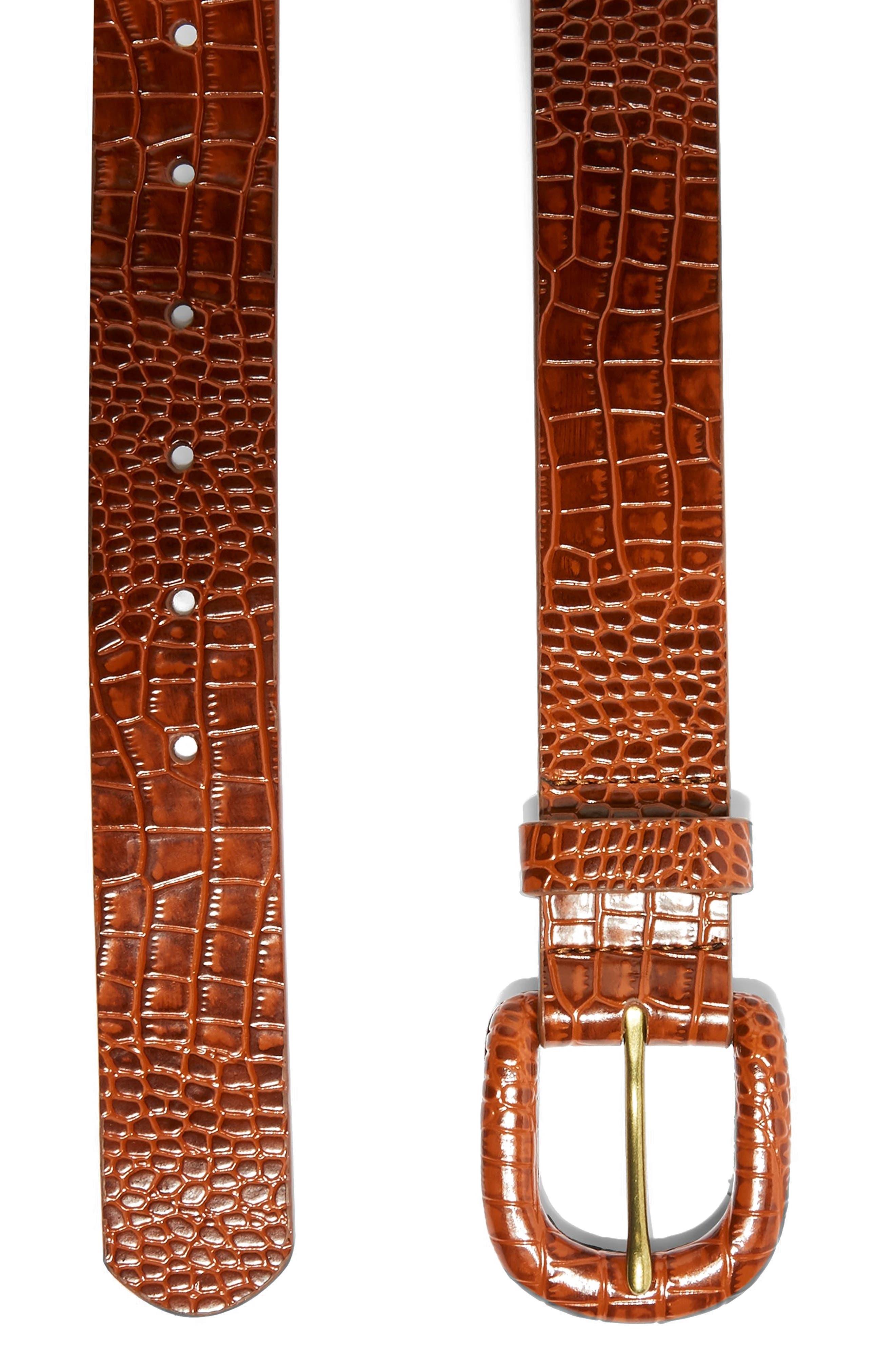 TOPSHOP, Crocodile Embossed Belt, Alternate thumbnail 3, color, BROWN