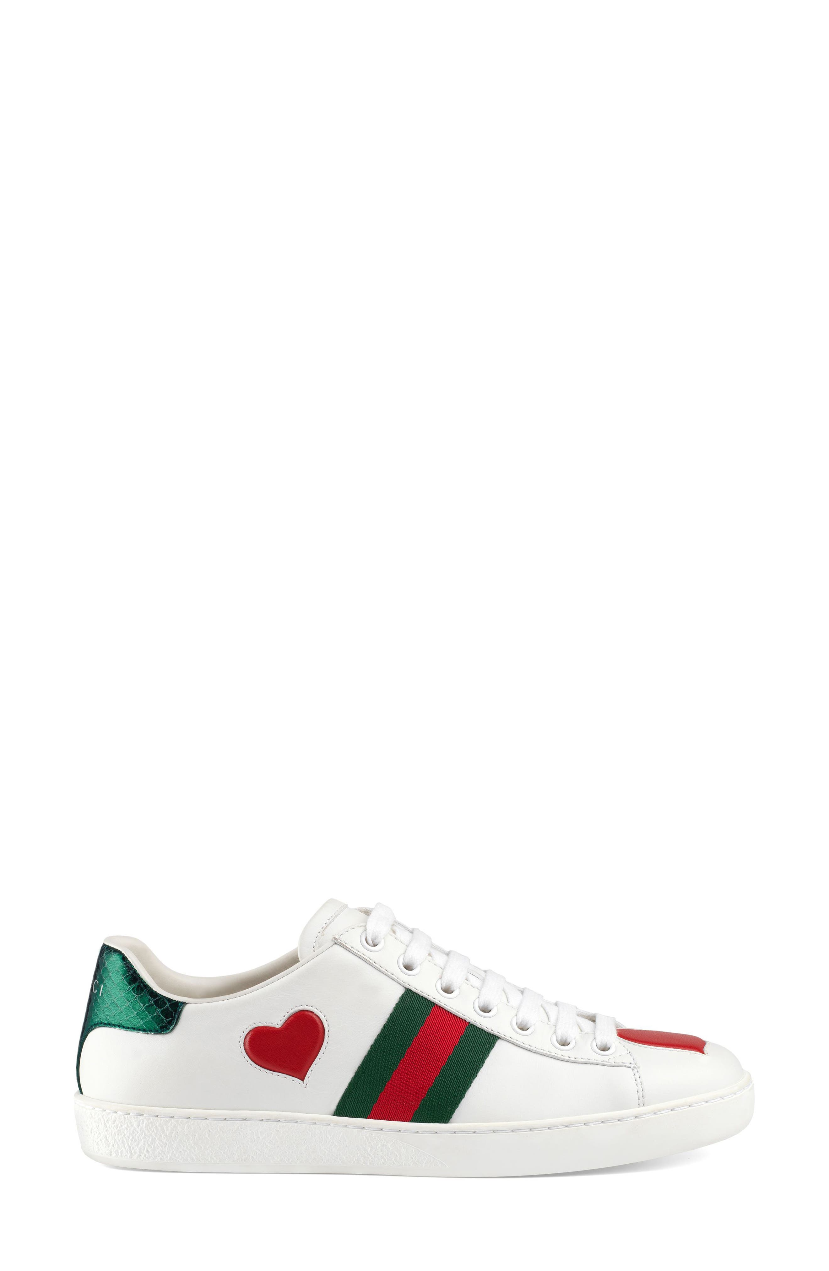 GUCCI, New Ace Heart Sneaker, Alternate thumbnail 2, color, WHITE