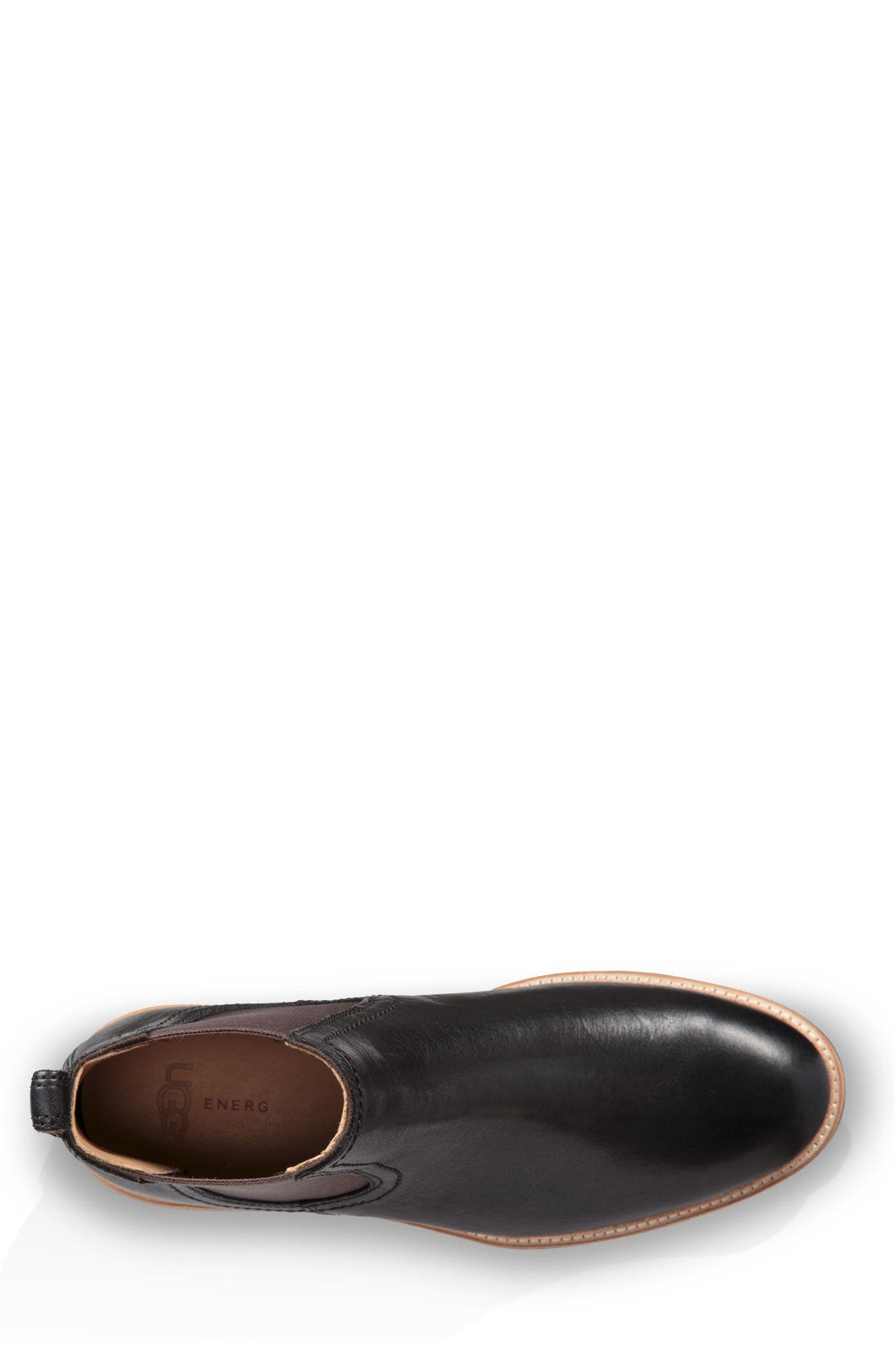 UGG<SUP>®</SUP>, Baldvin Chelsea Boot, Alternate thumbnail 4, color, BLACK LEATHER/SUEDE