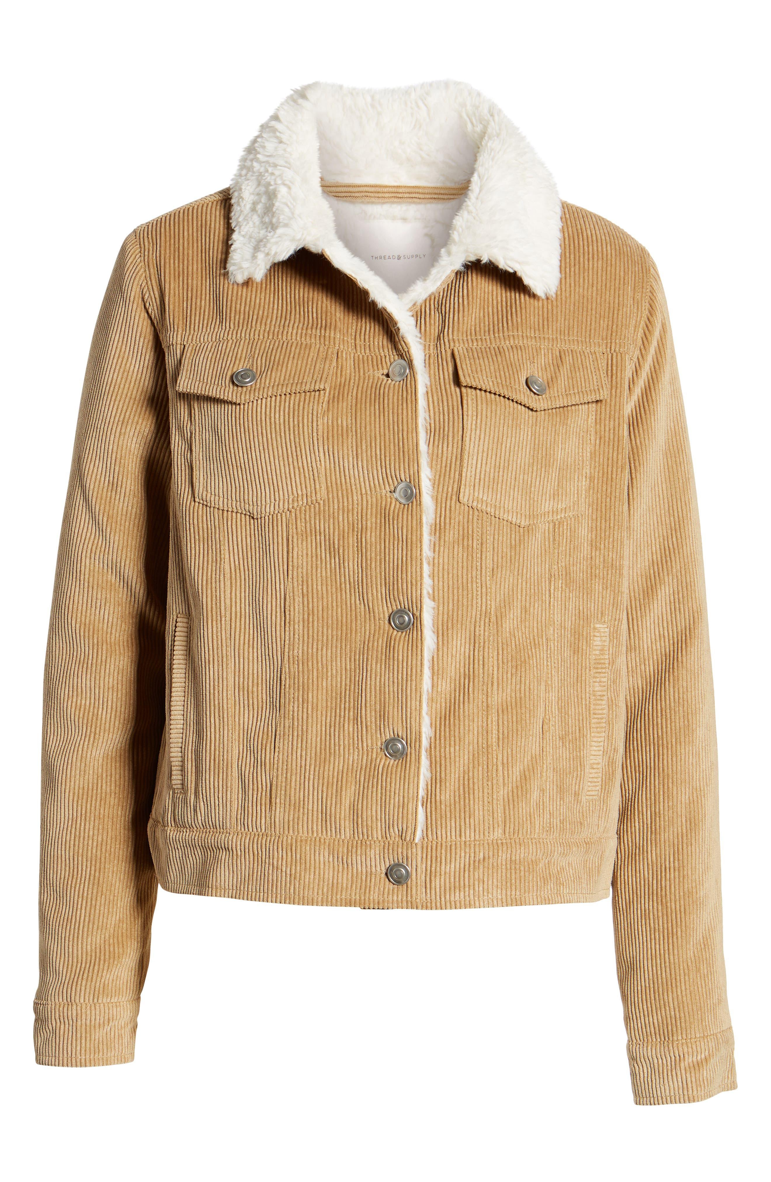 THREAD & SUPPLY, Paddington Fleece Lined Corduroy Jacket, Alternate thumbnail 6, color, KHAKI