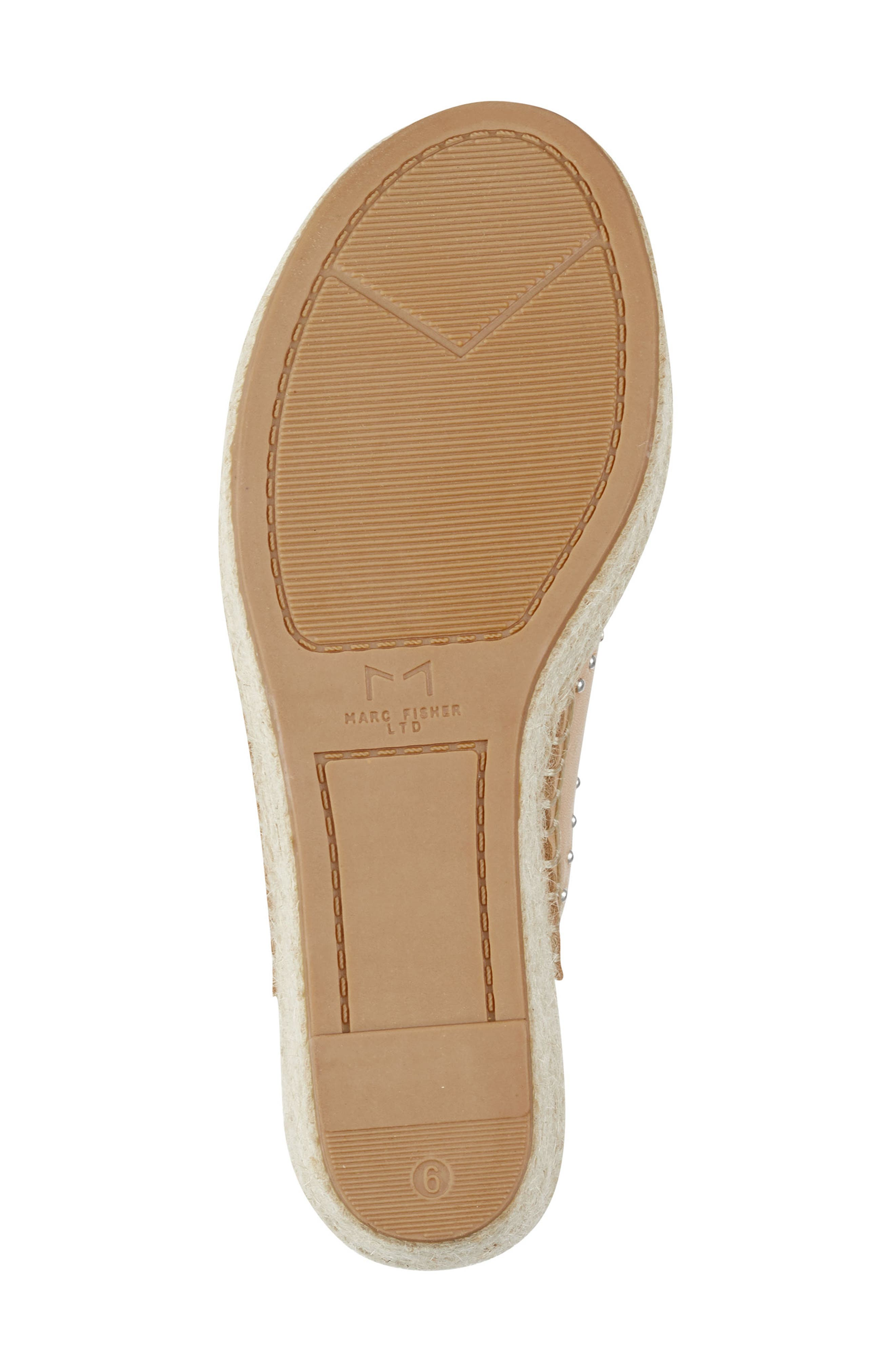 MARC FISHER LTD, Angelina Espadrille Wedge, Alternate thumbnail 6, color, TAN LEATHER