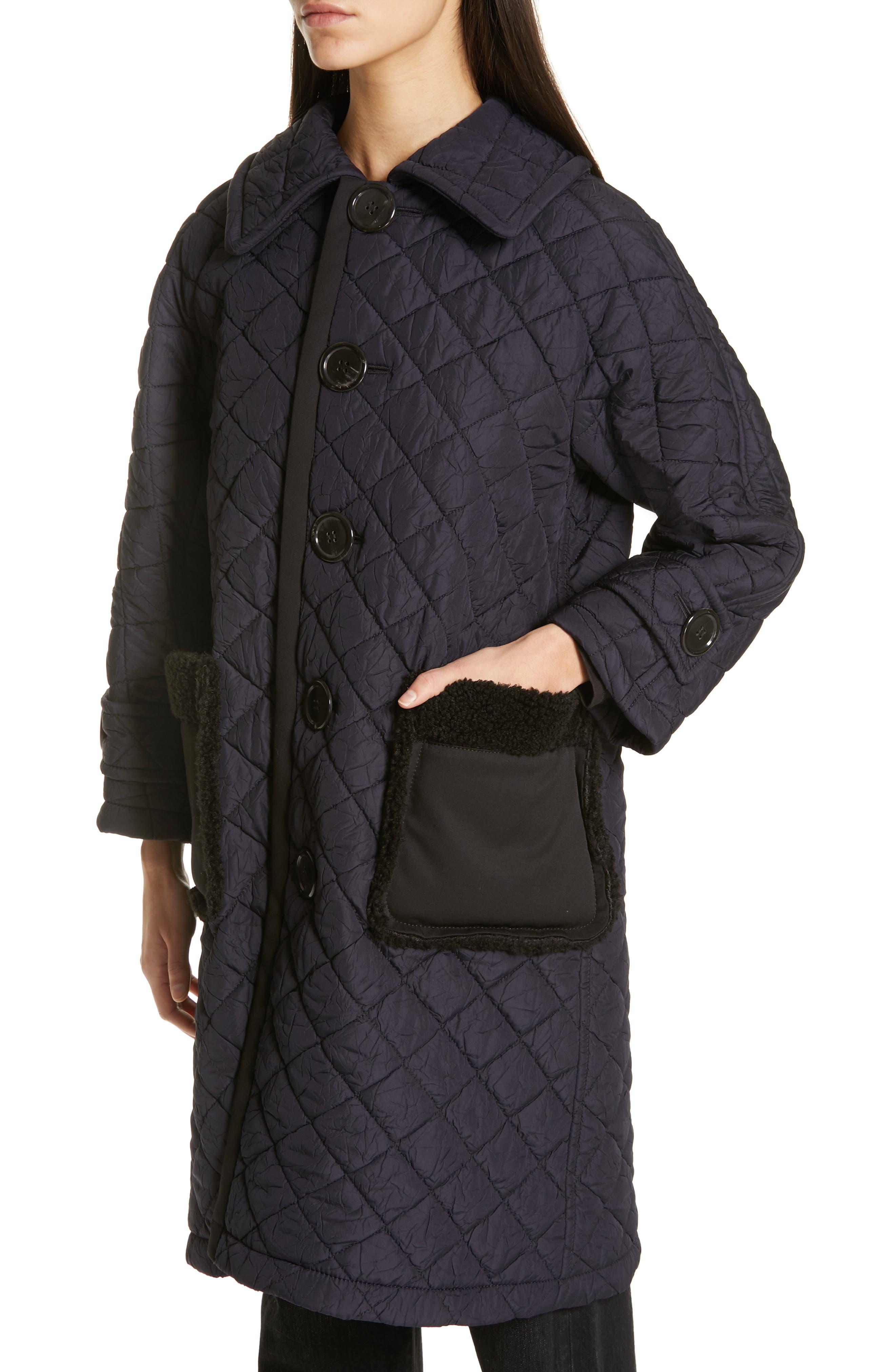 TRICOT COMME DES GARÇONS, Quilted Coat with Faux Fur Trim, Alternate thumbnail 5, color, NAVY X BLACK