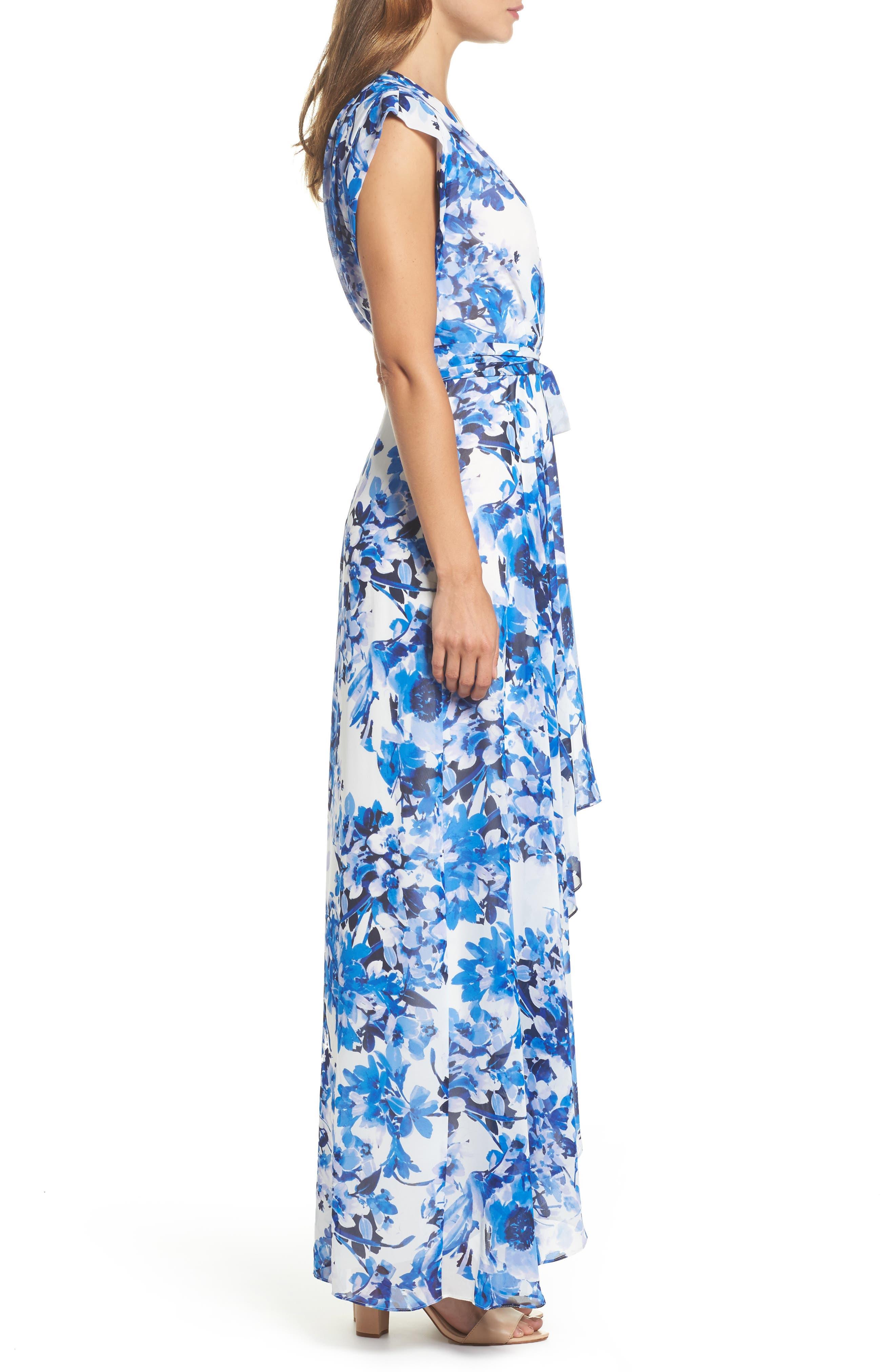 ELIZA J, Floral Ruffle High/Low Maxi Dress, Alternate thumbnail 4, color, BLUE