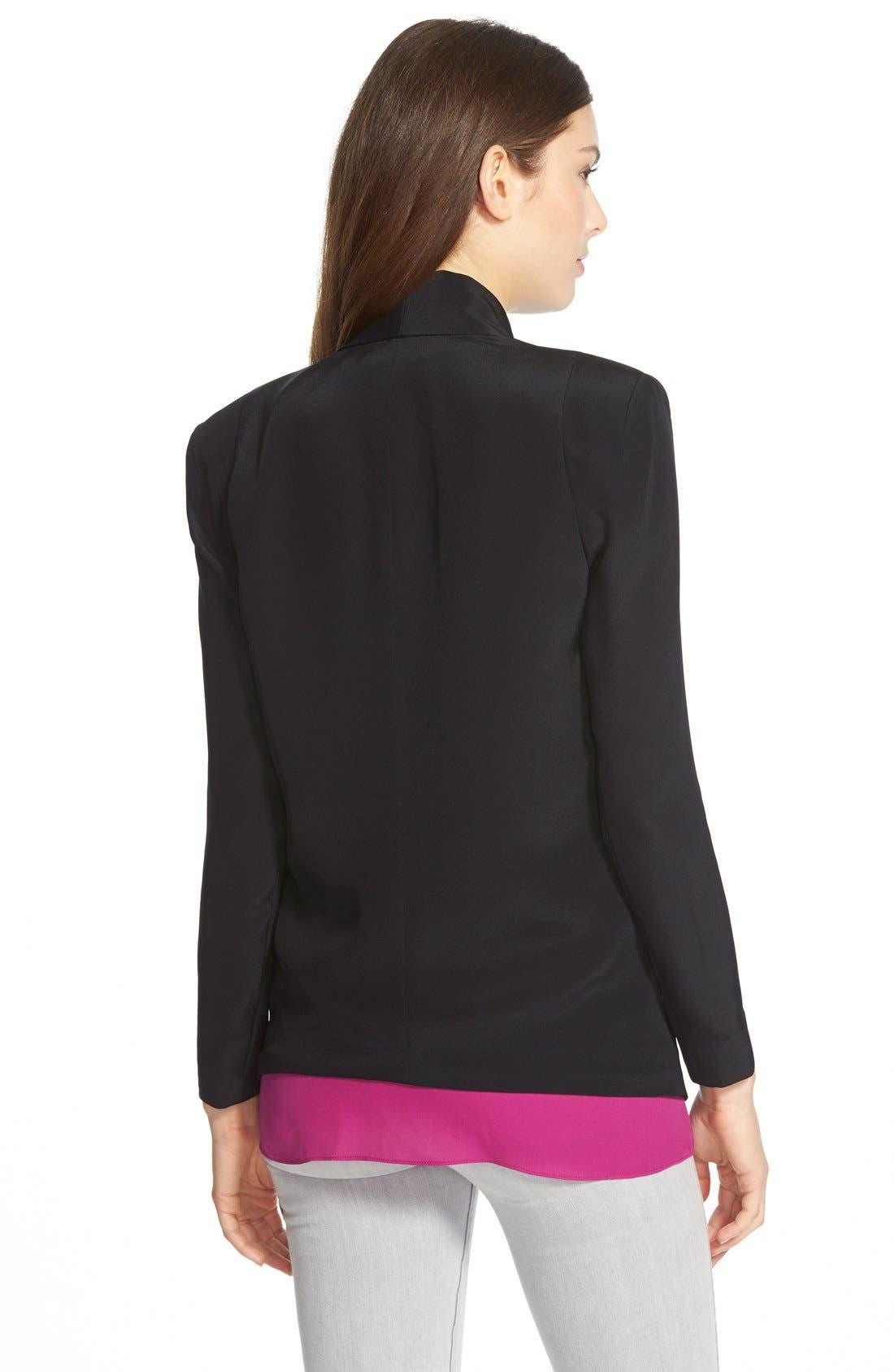 REBECCA MINKOFF, 'Becky' Long Tuxedo Blazer, Alternate thumbnail 2, color, 001