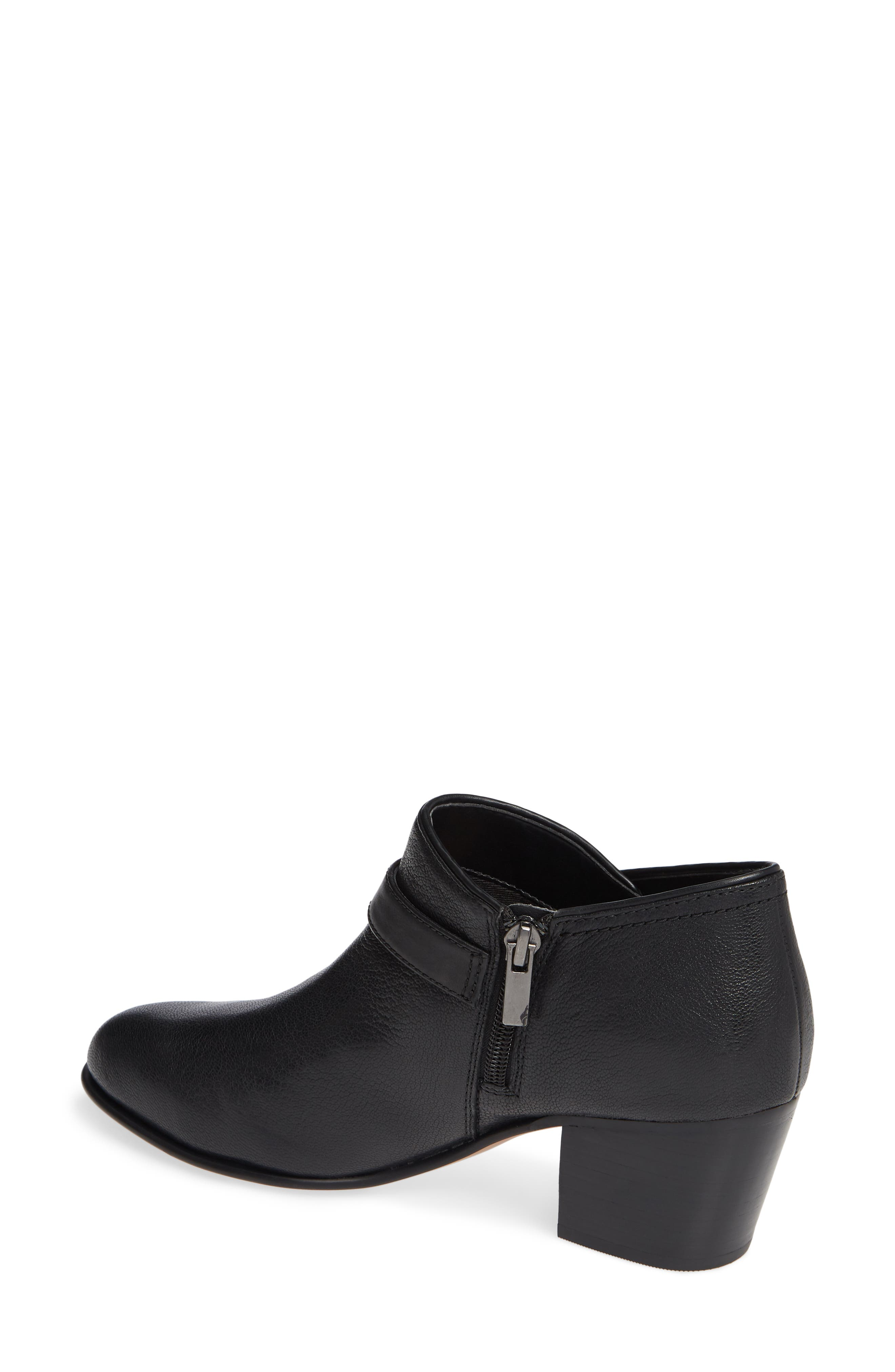 CLARKS<SUP>®</SUP>, Maypearl Milla Bootie, Alternate thumbnail 2, color, BLACK TUMBLED LEATHER