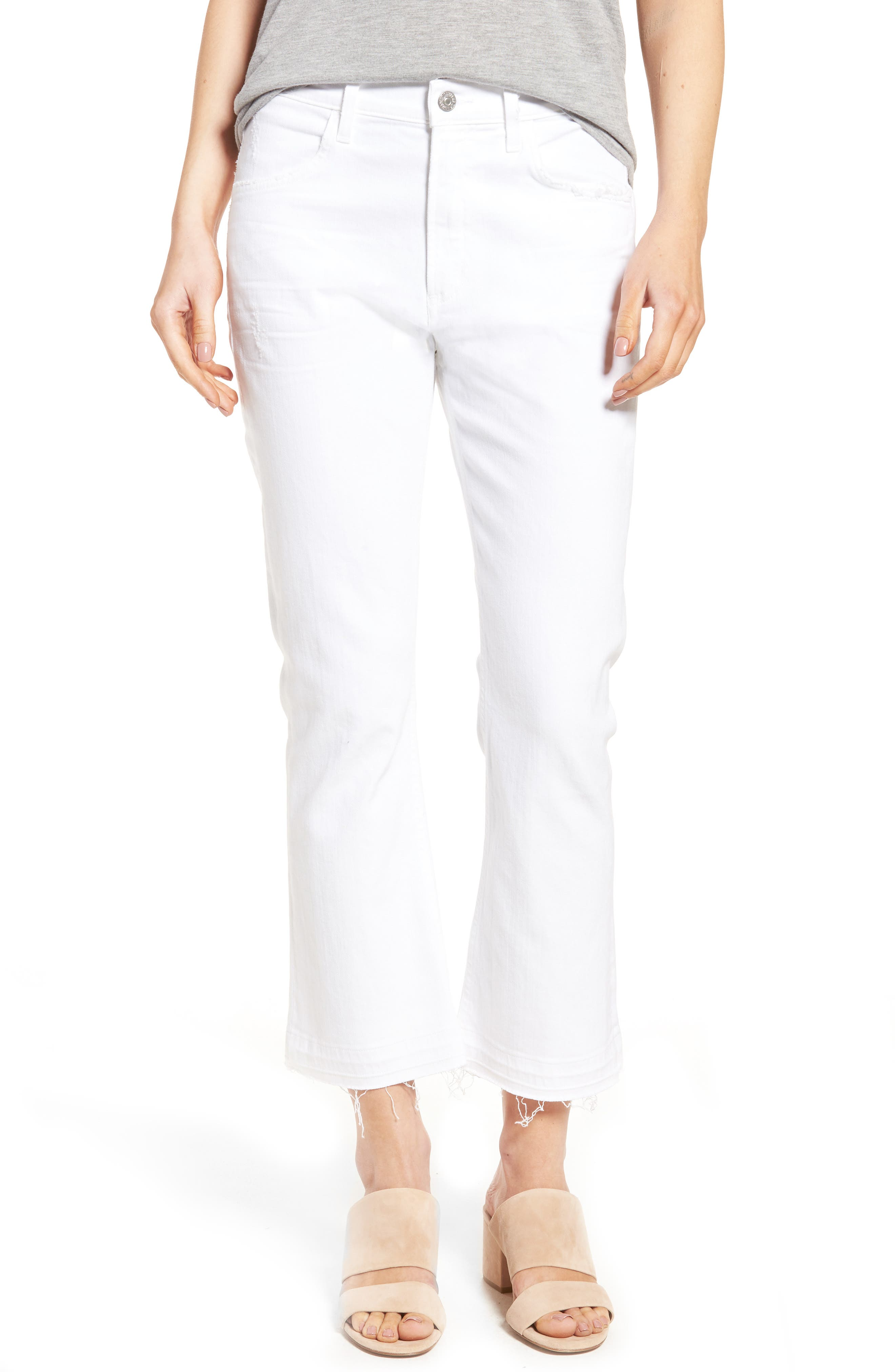 CITIZENS OF HUMANITY, Drew Crop Flare Jeans, Main thumbnail 1, color, DISTRESSED WHITE
