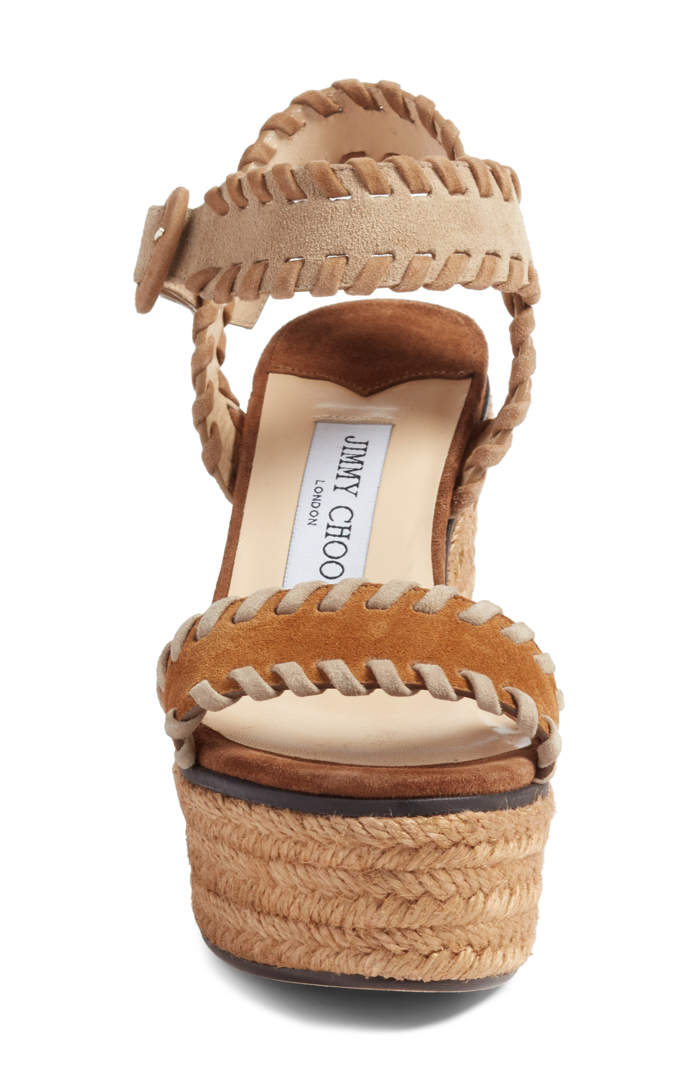 JIMMY CHOO, Abigail Whipstitch Wedge, Alternate thumbnail 4, color, NATURAL/ BROWN