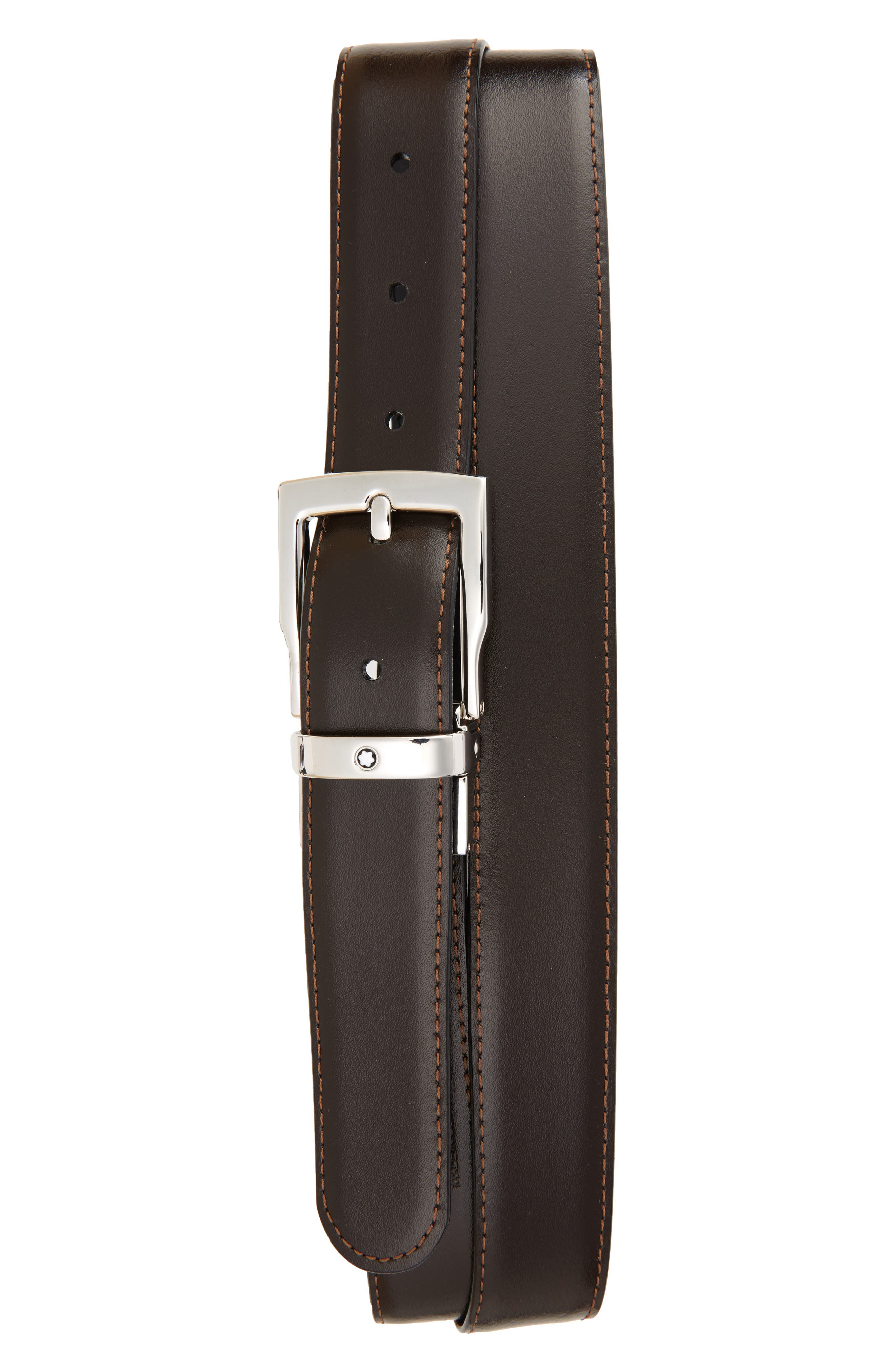MONTBLANC, Square Buckle Reversible Leather Belt, Alternate thumbnail 2, color, BLACK/ BROWN