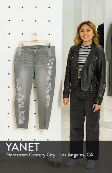 Embroidered High Waist Ankle Slim Jeans, sales video thumbnail