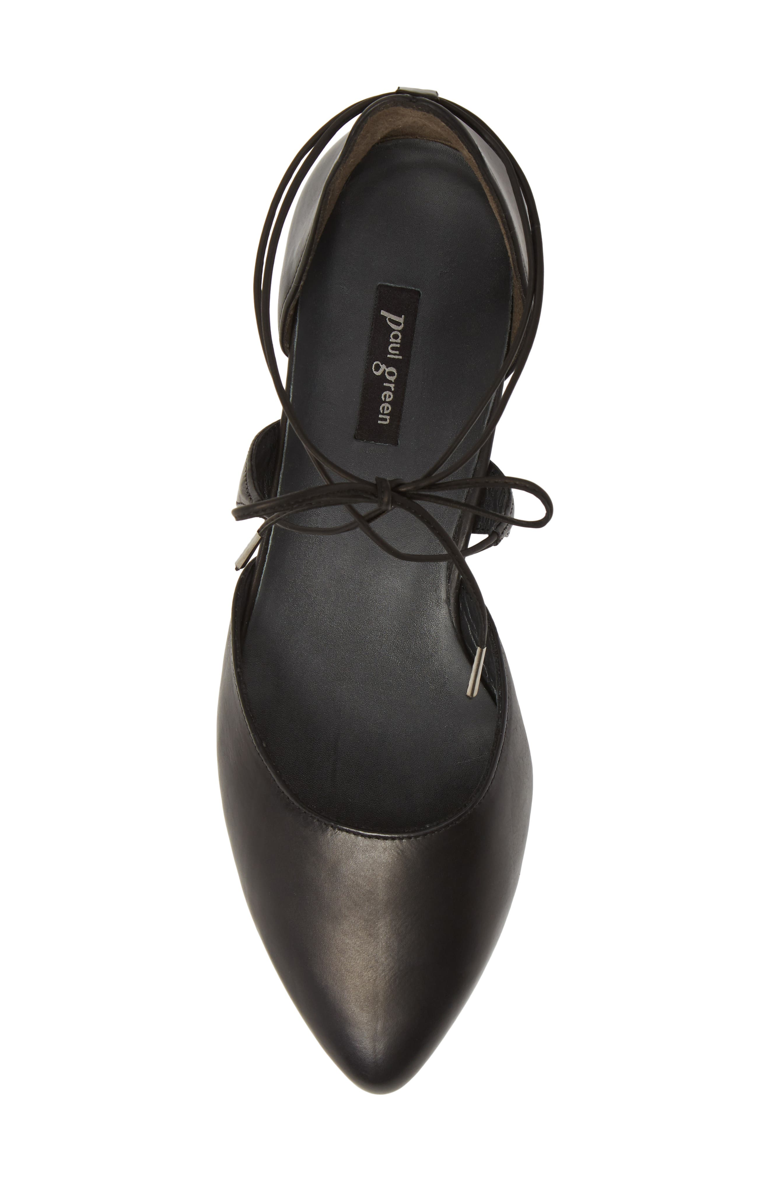 PAUL GREEN, Lace Up Flat, Alternate thumbnail 5, color, BLACK LEATHER