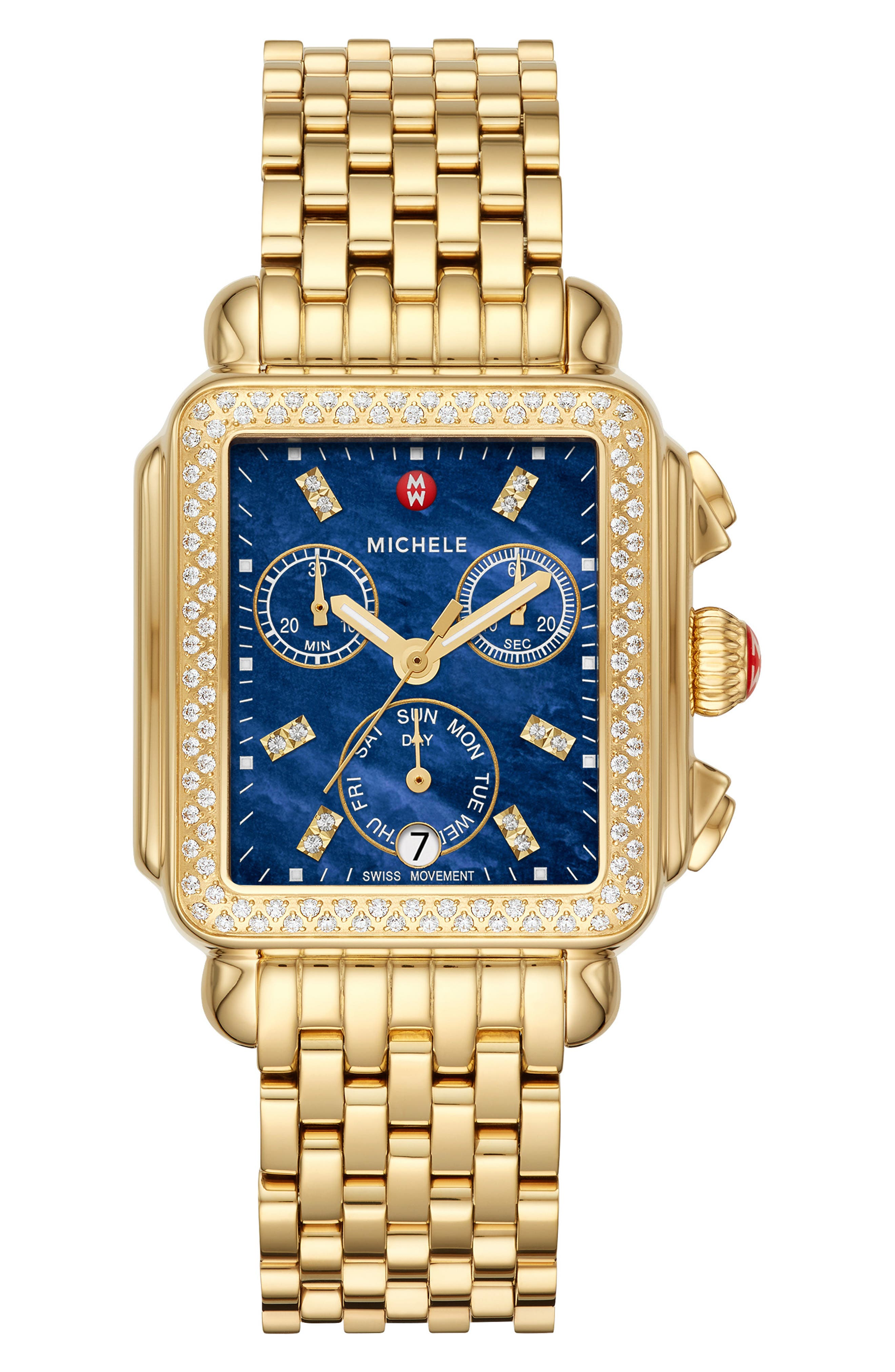 MICHELE, Deco Diamond Diamond Dial Watch Head, 33mm x 35mm, Alternate thumbnail 3, color, GOLD/ DEEP BLUE MOP