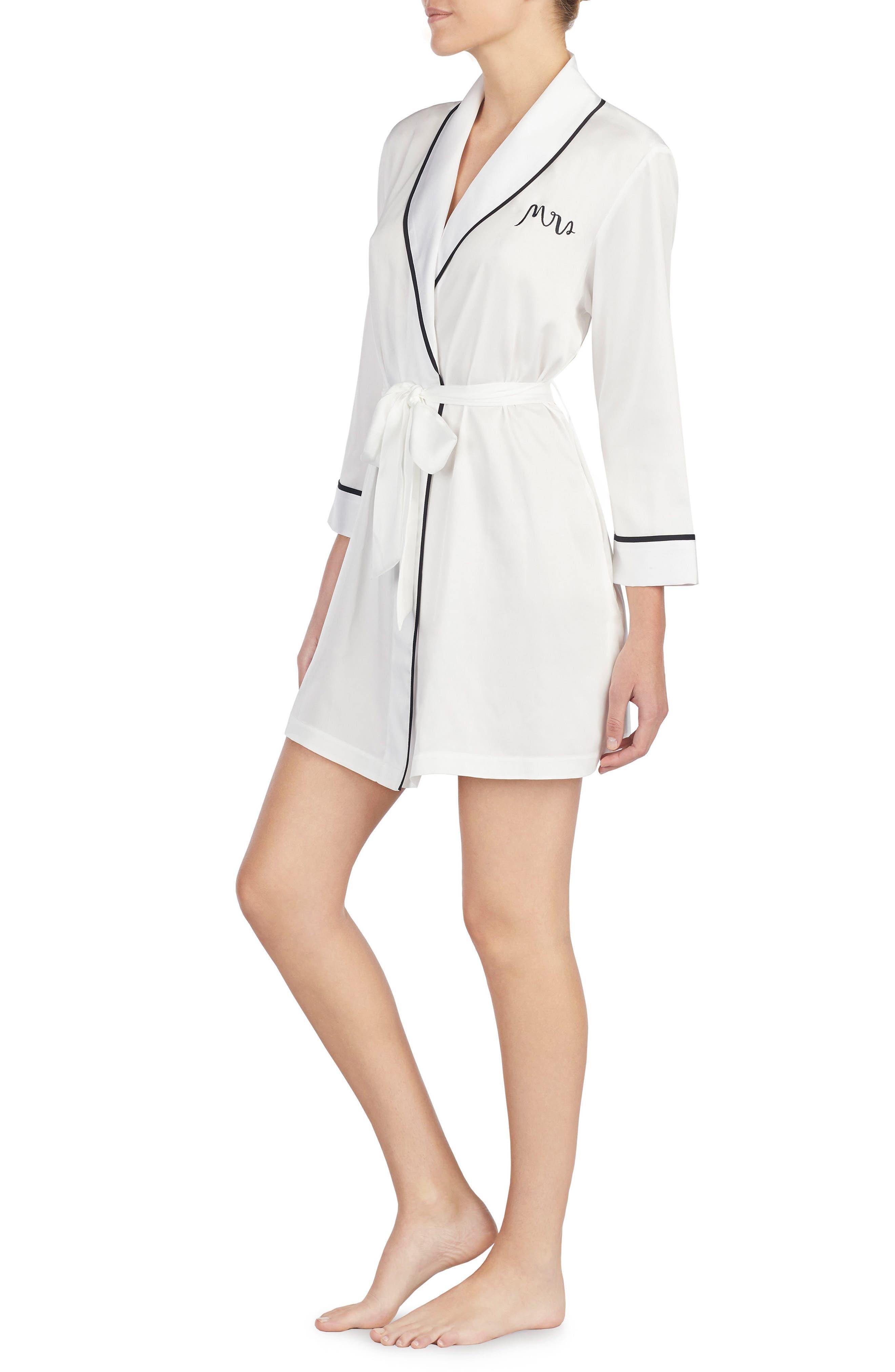 KATE SPADE NEW YORK, mrs charmeuse short robe, Alternate thumbnail 3, color, OFF WHITE