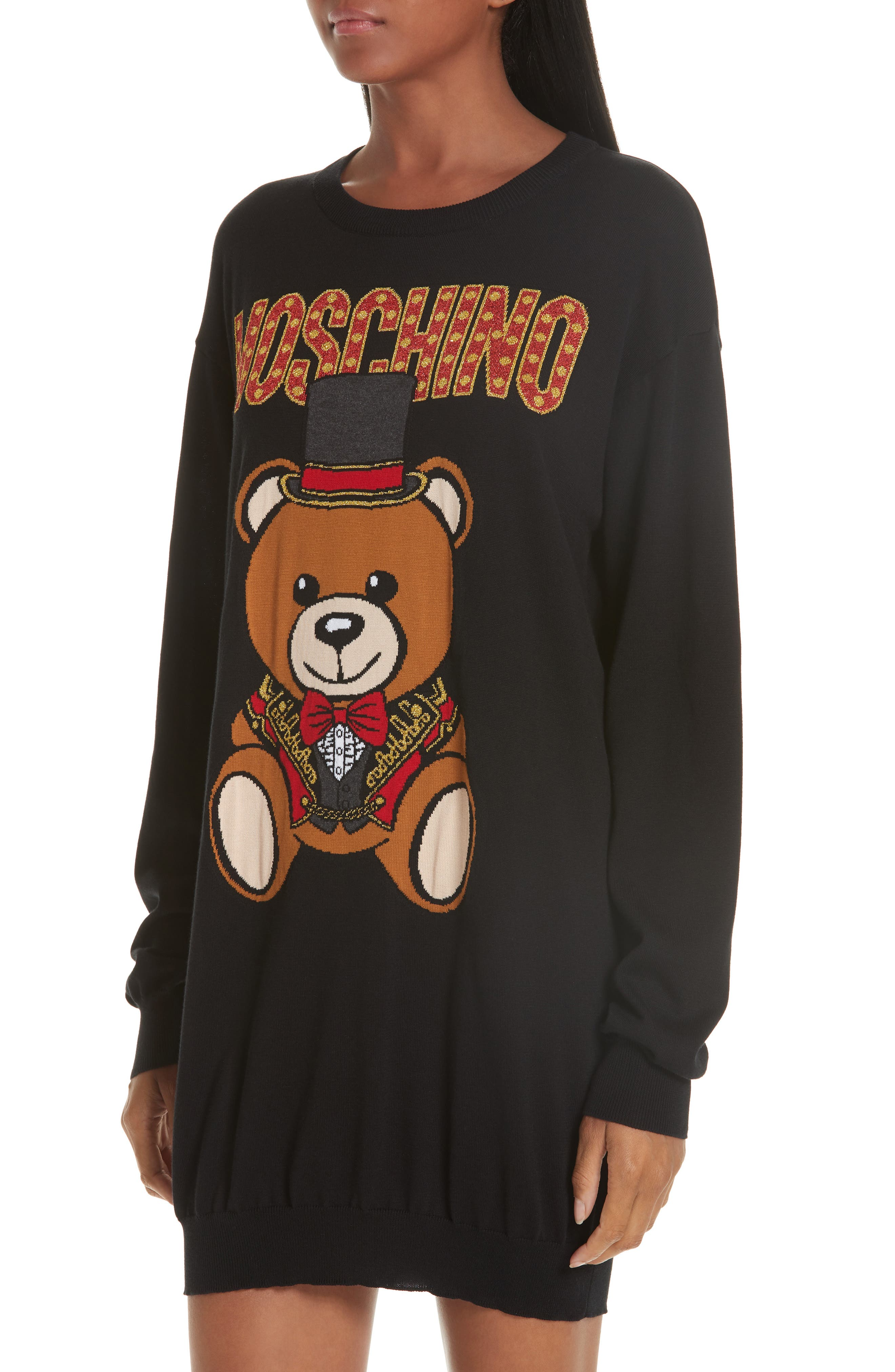 MOSCHINO, Circus Teddy Sweater Dress, Alternate thumbnail 4, color, BLACK