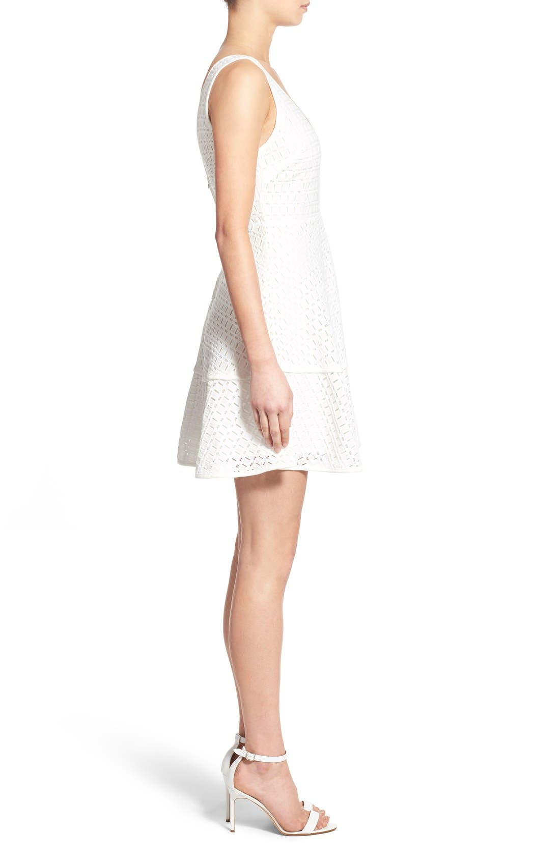 CUPCAKES AND CASHMERE, 'Matilda' Eyelet Fit & Flare Dress, Alternate thumbnail 2, color, 101