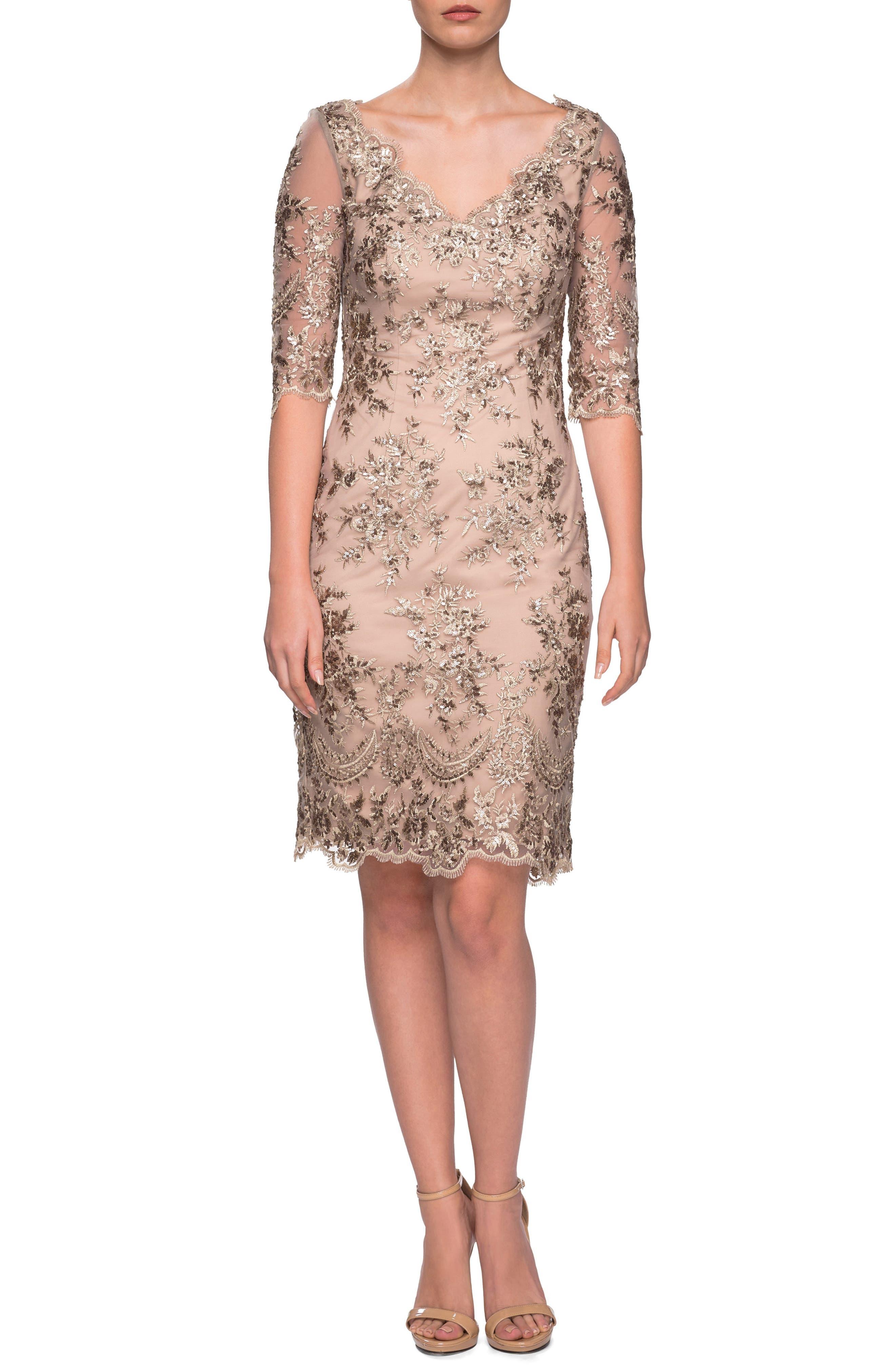 LA FEMME, Embroidered Lace Sheath Dress, Main thumbnail 1, color, GOLD/ NUDE