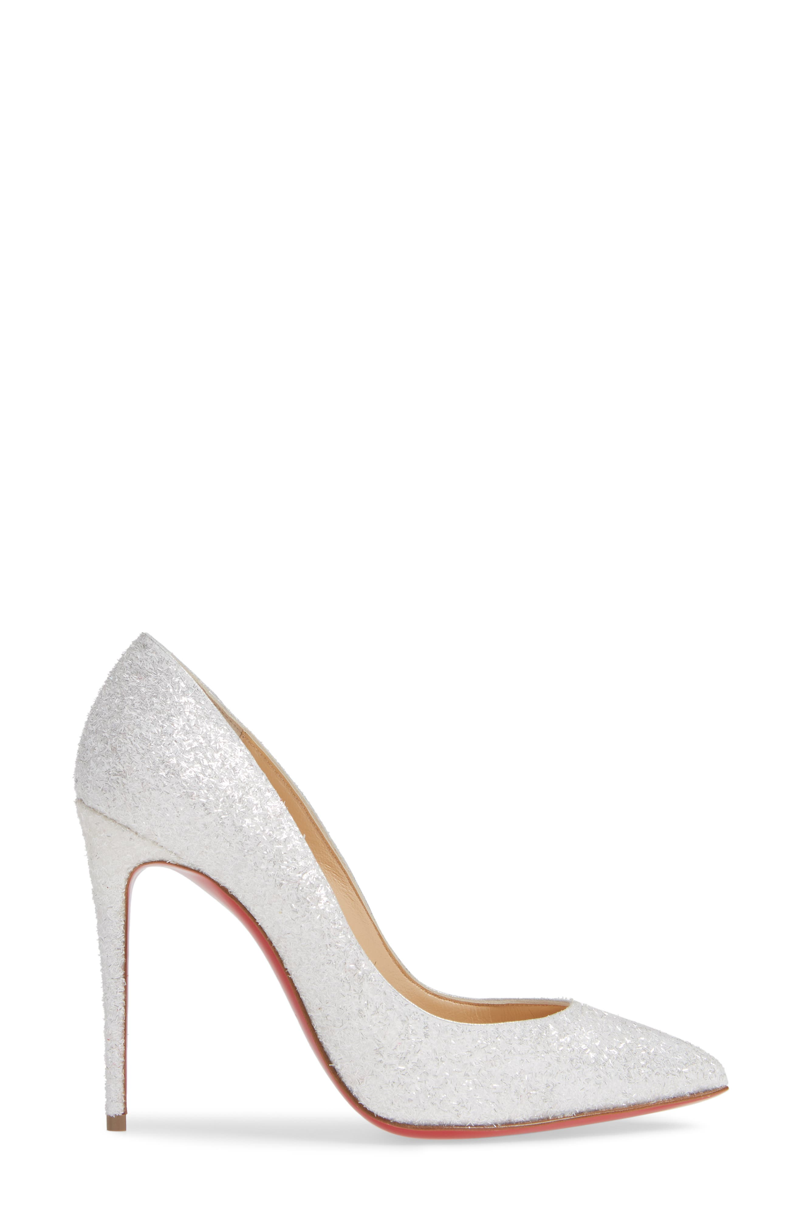CHRISTIAN LOUBOUTIN, Pigalle Follies Pointy Toe Pump, Alternate thumbnail 3, color, WHITE GLITTER