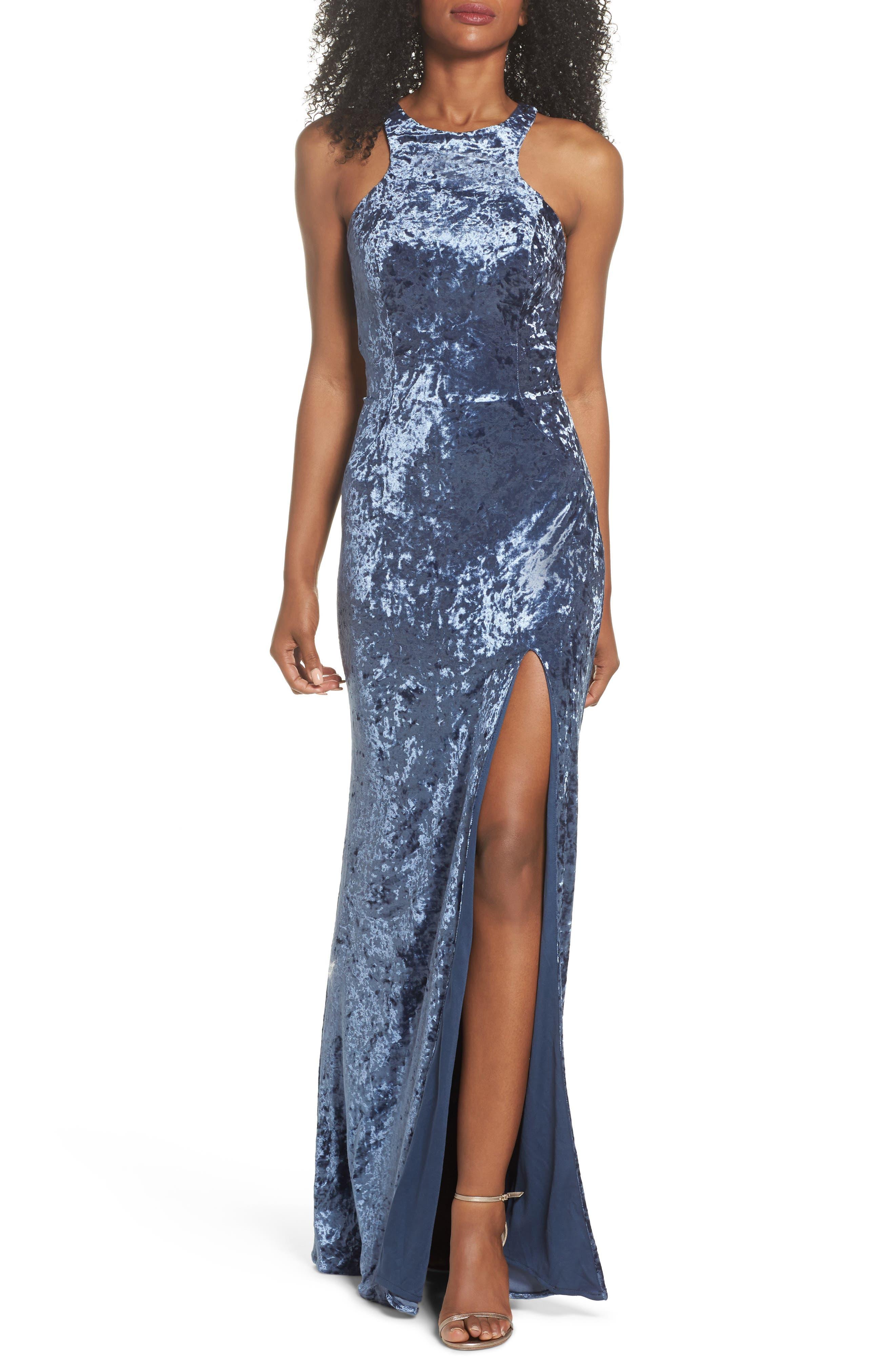 La Femme Strappy Crushed Velvet Gown, Blue