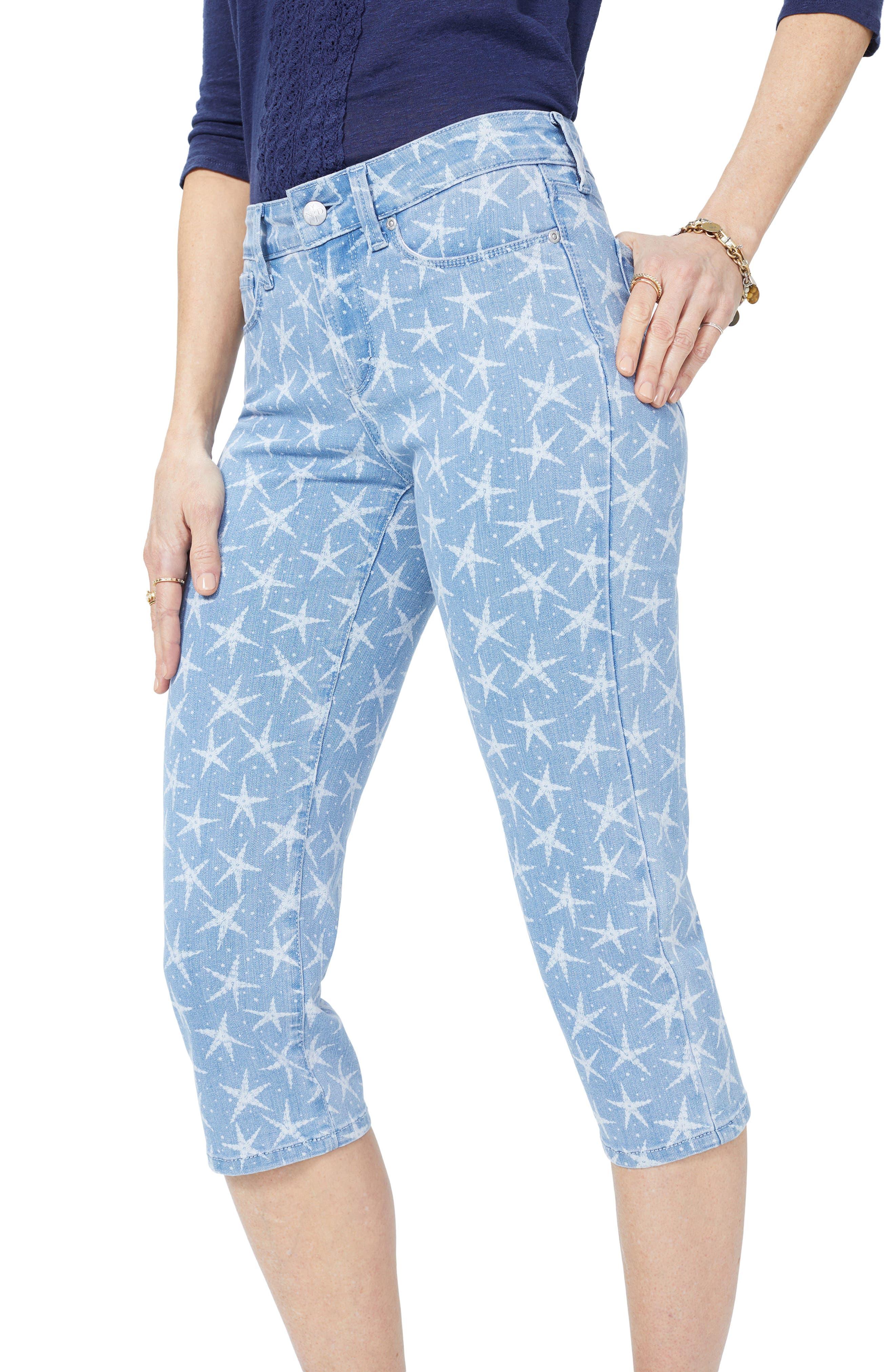NYDJ, High Waist Seastar Print Stretch Crop Jeans, Alternate thumbnail 4, color, SEASTAR DISCHARGE PRINT