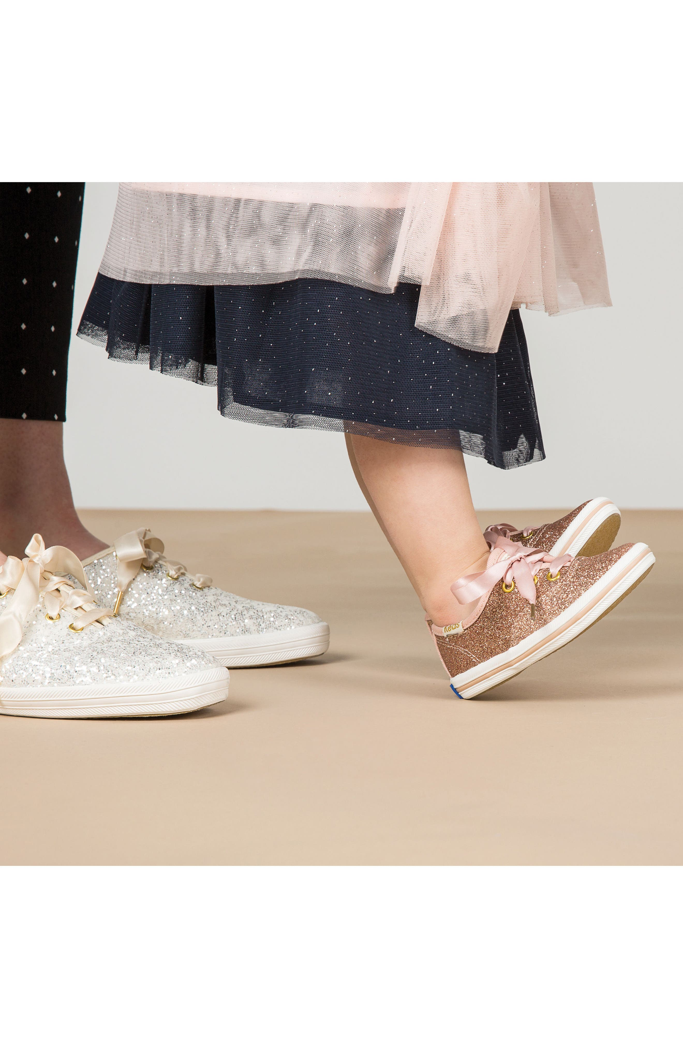 KEDS<SUP>®</SUP> FOR KATE SPADE NEW YORK, glitter sneaker, Alternate thumbnail 7, color, BLACK