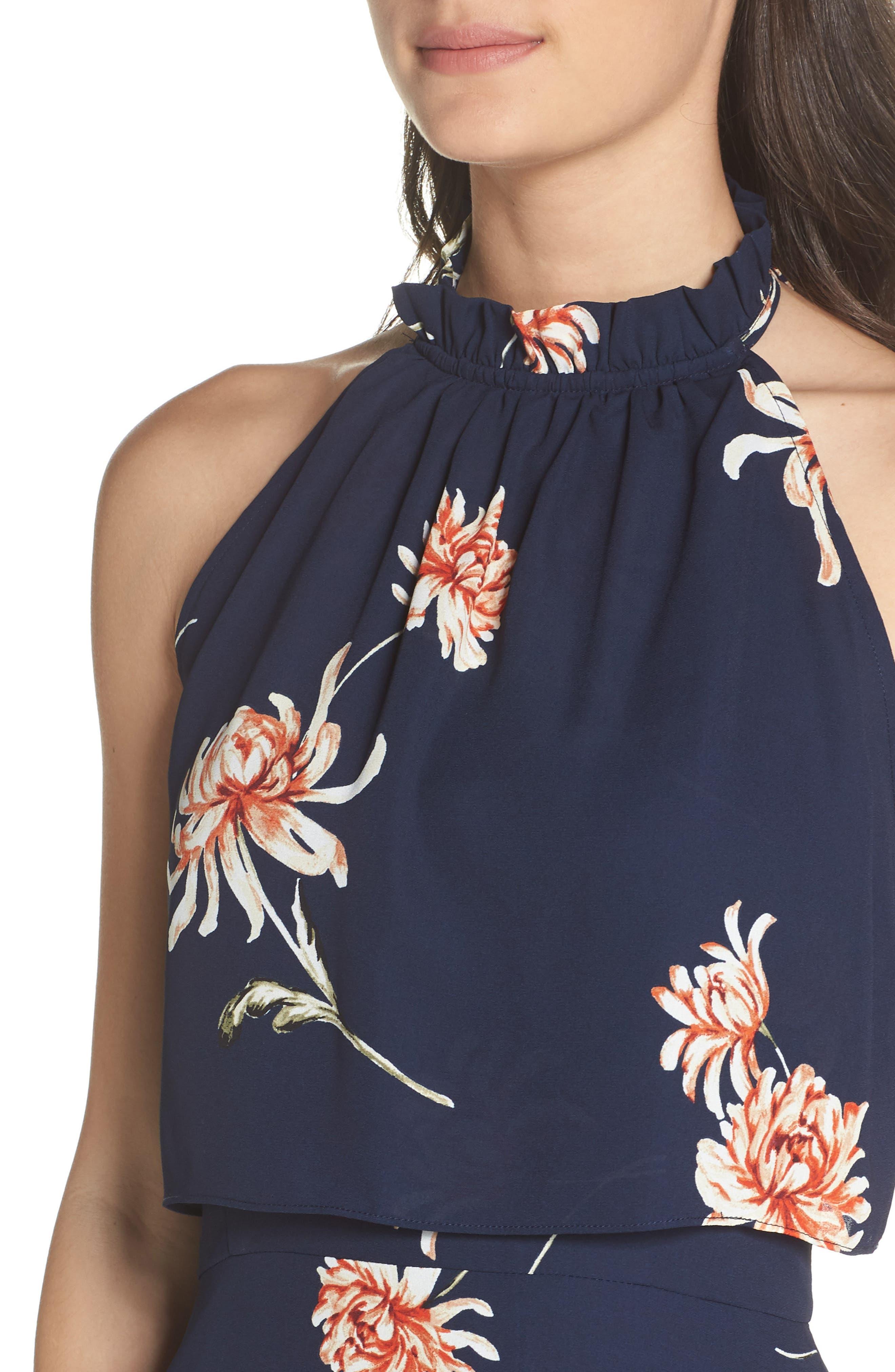 BB DAKOTA, Garden Variety Halter Neck Dress, Alternate thumbnail 5, color, OIL SLICK