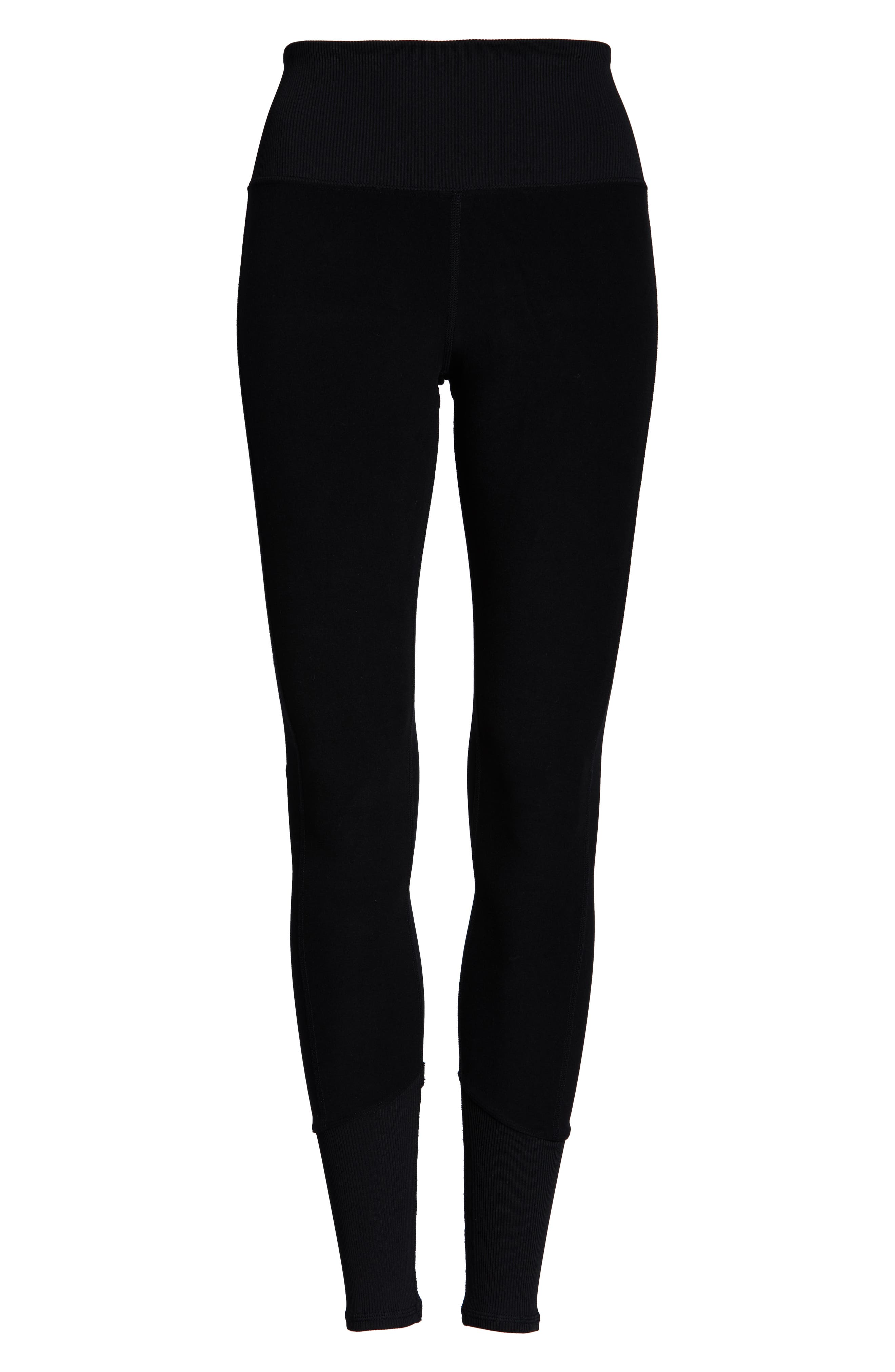 ALO, High Waist Lounge Leggings, Alternate thumbnail 7, color, BLACK
