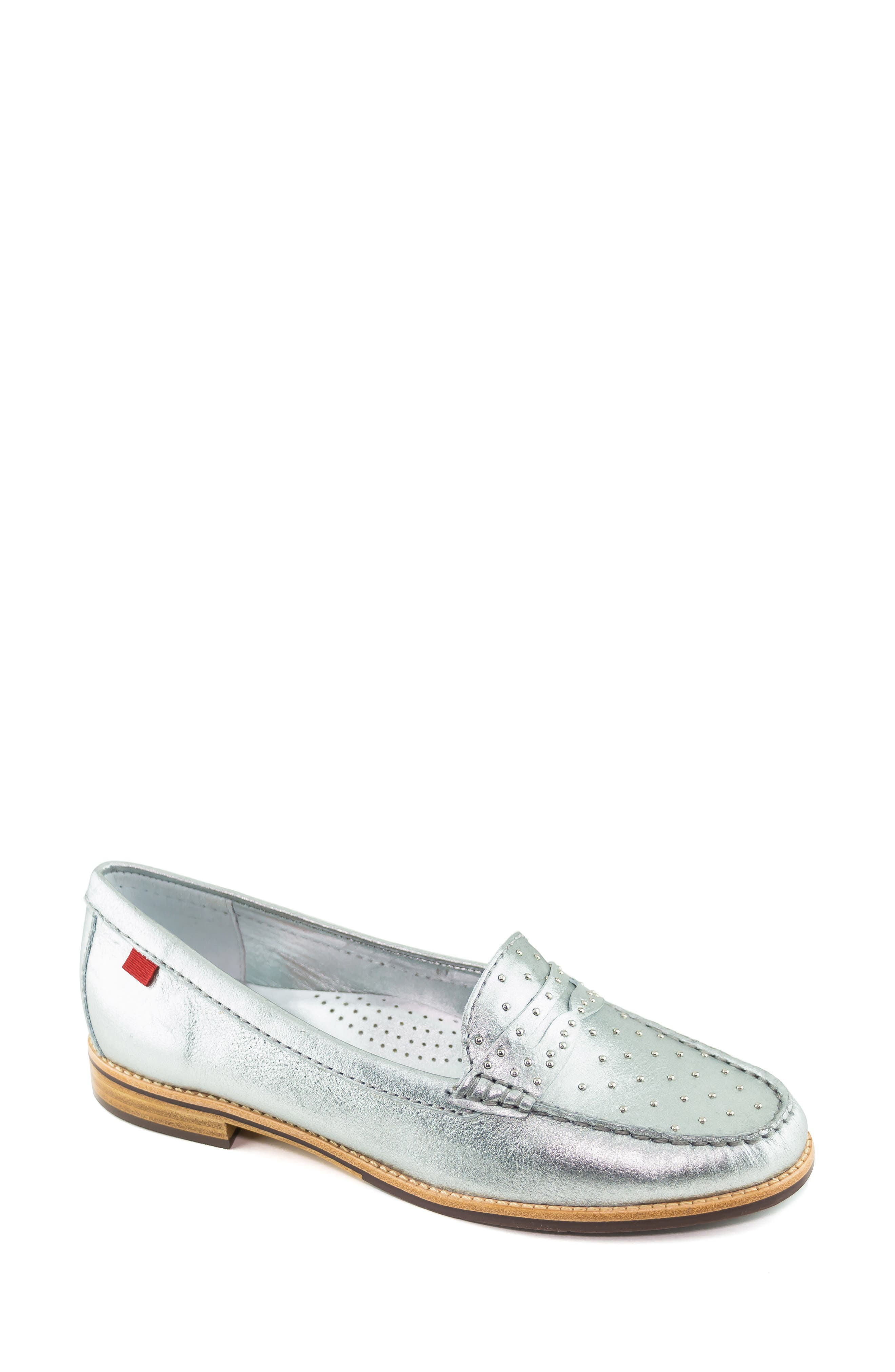 MARC JOSEPH NEW YORK, East Village III Studded Loafer, Main thumbnail 1, color, SILVER LEATHER