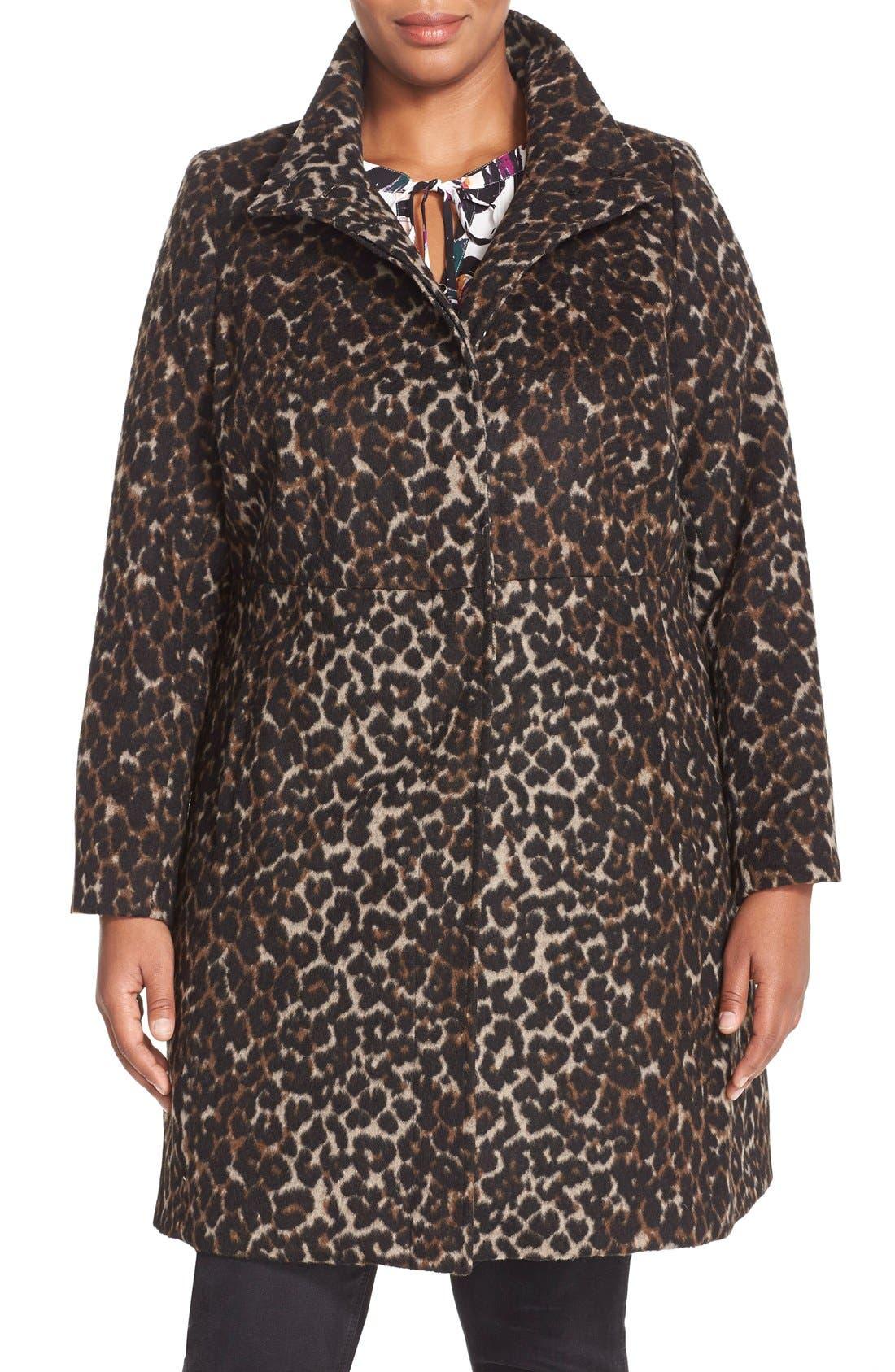 VIA SPIGA, Leopard Print Stand Collar Coat, Main thumbnail 1, color, 250